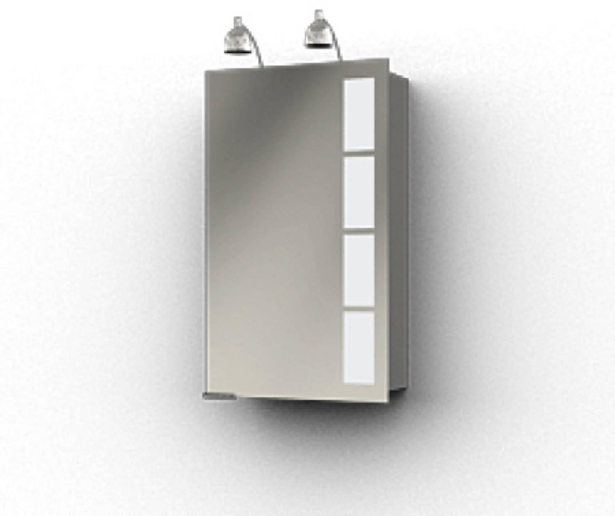 Ben Magno Spiegelkast Aluminium 45cm met 2 spotjes
