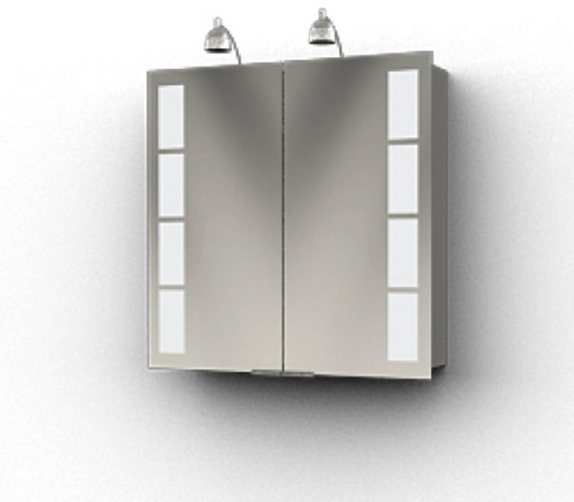 Ben Magno Spiegelkast Aluminium 75cm met 2 spotjes