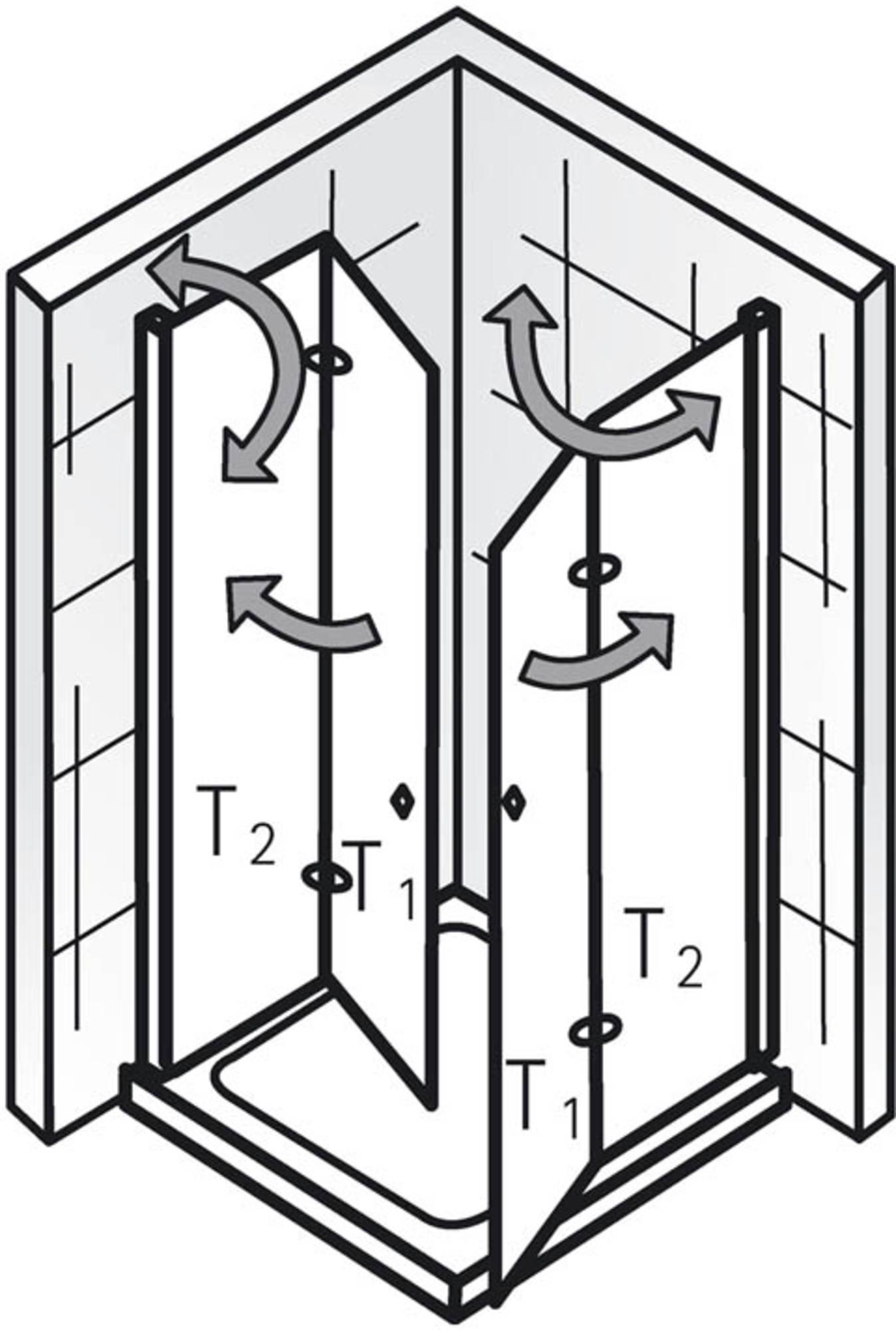 Ben Care Douchecabine Hoekinstap met draaivouwdeur 100x100x200cm Chroom/Helder glas