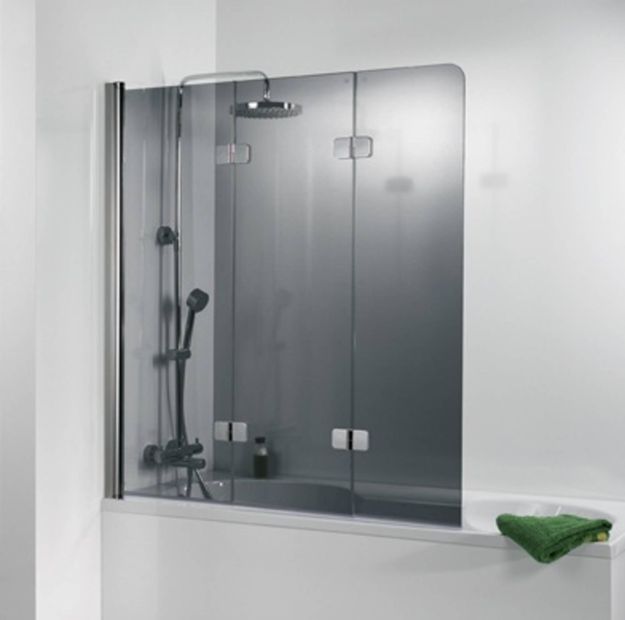 Ben Martino Soft 3-delige Badklapwand 114x140cm Chroom - Grijs Glas