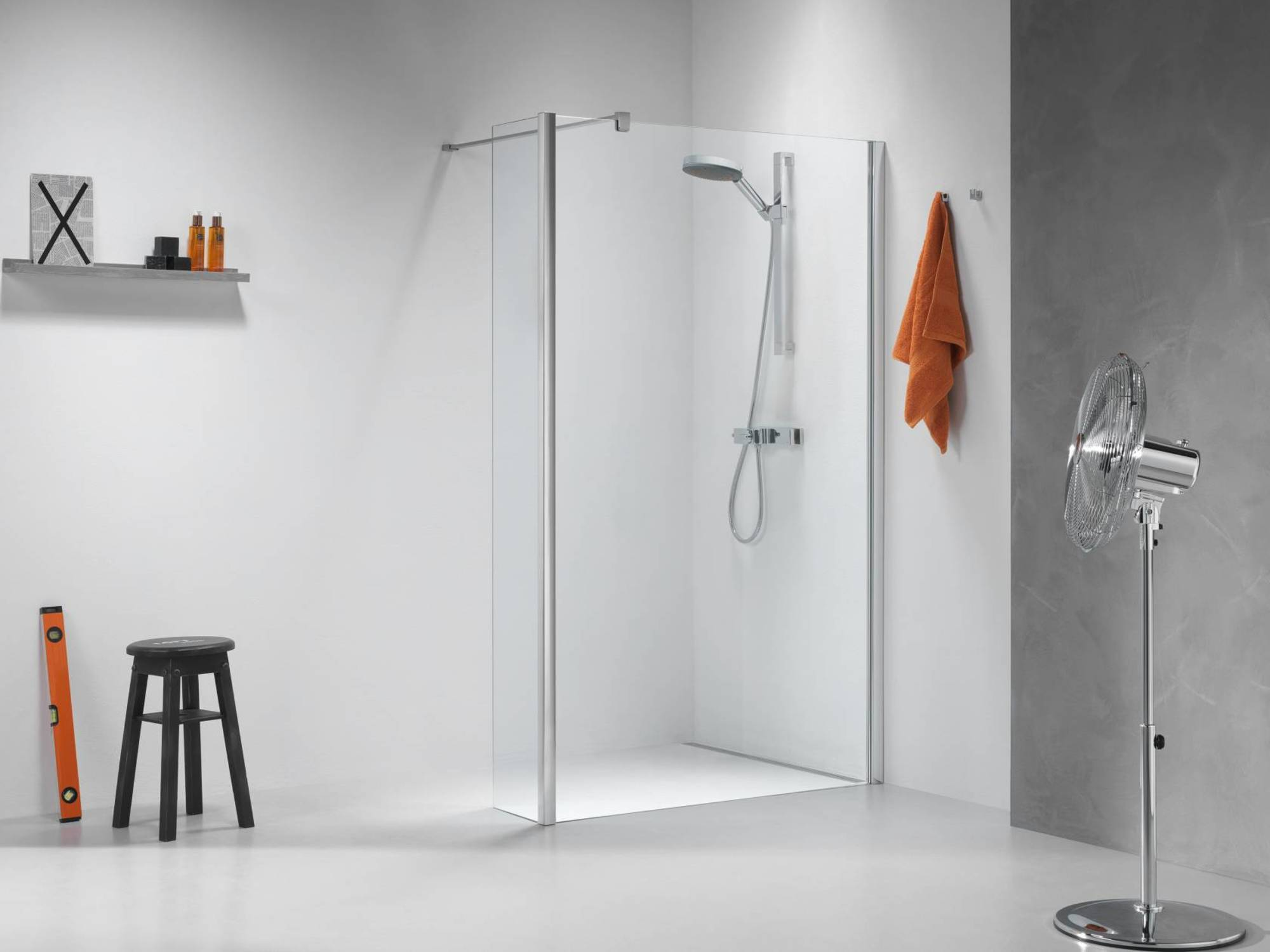 Sealskin Get Wet Impact inloop douchecabine 120x195 cm chroom/zilver hoogglans helder glas
