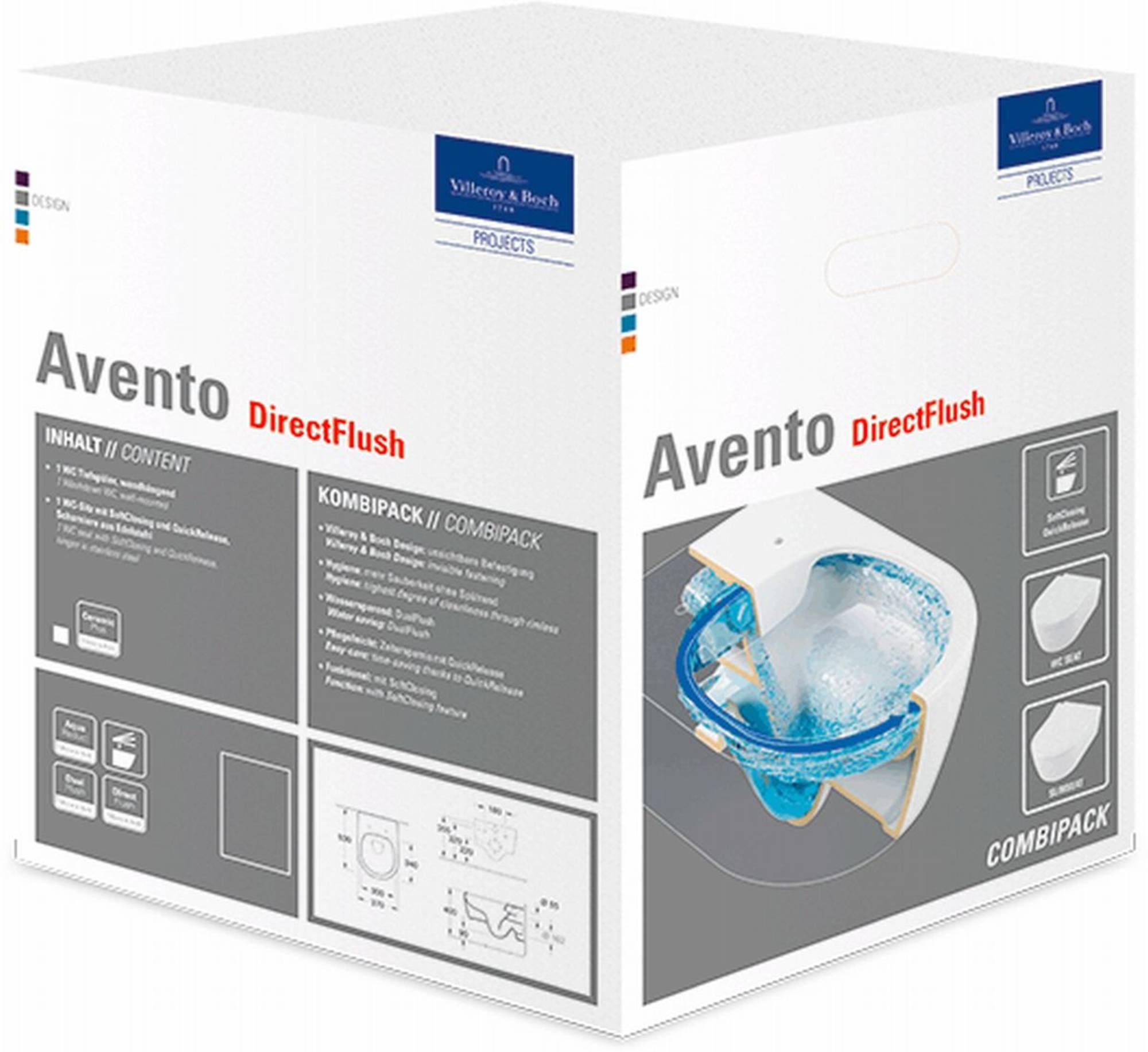 Villeroy & Boch Avento combipack closetcombinatie wandmodel afvoer horizontaal wit