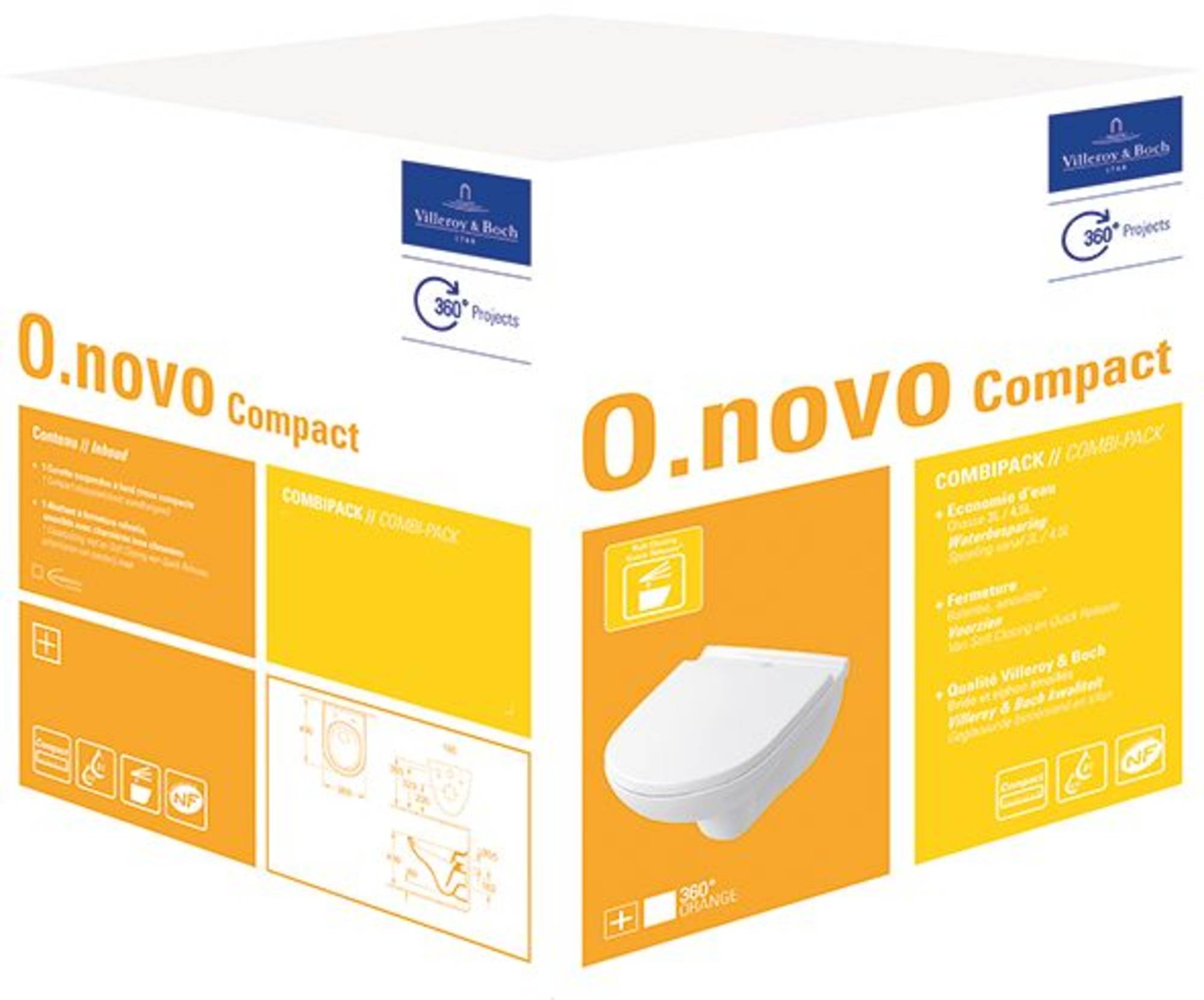 Villeroy & Boch O.Novo Wandcloset Compact Diepspoel Combipack Wit