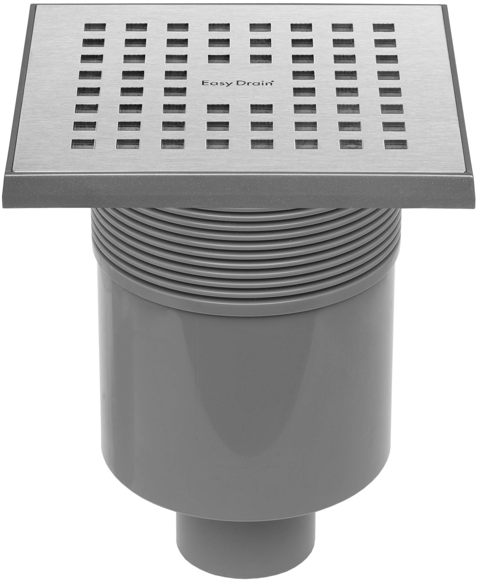 Easy Drain Aqua Quattro vloerput abs 15x15cm verticaal RVS Geborsteld