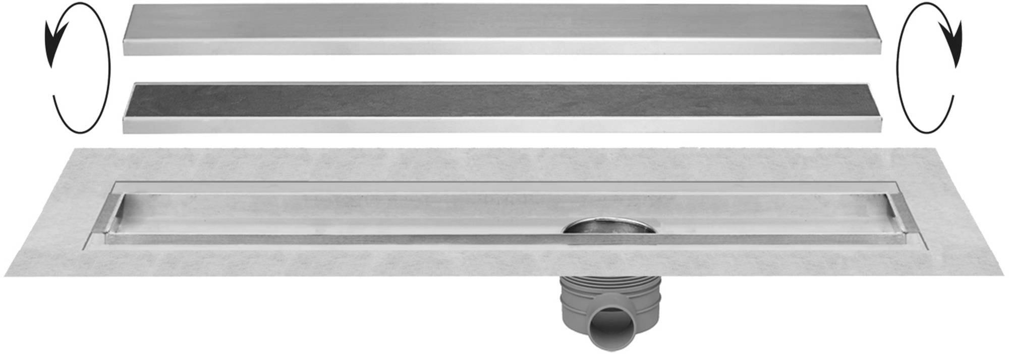Easy Drain Multi TAF afvoergoot 80 cm rooster als zero of tegel design RVS