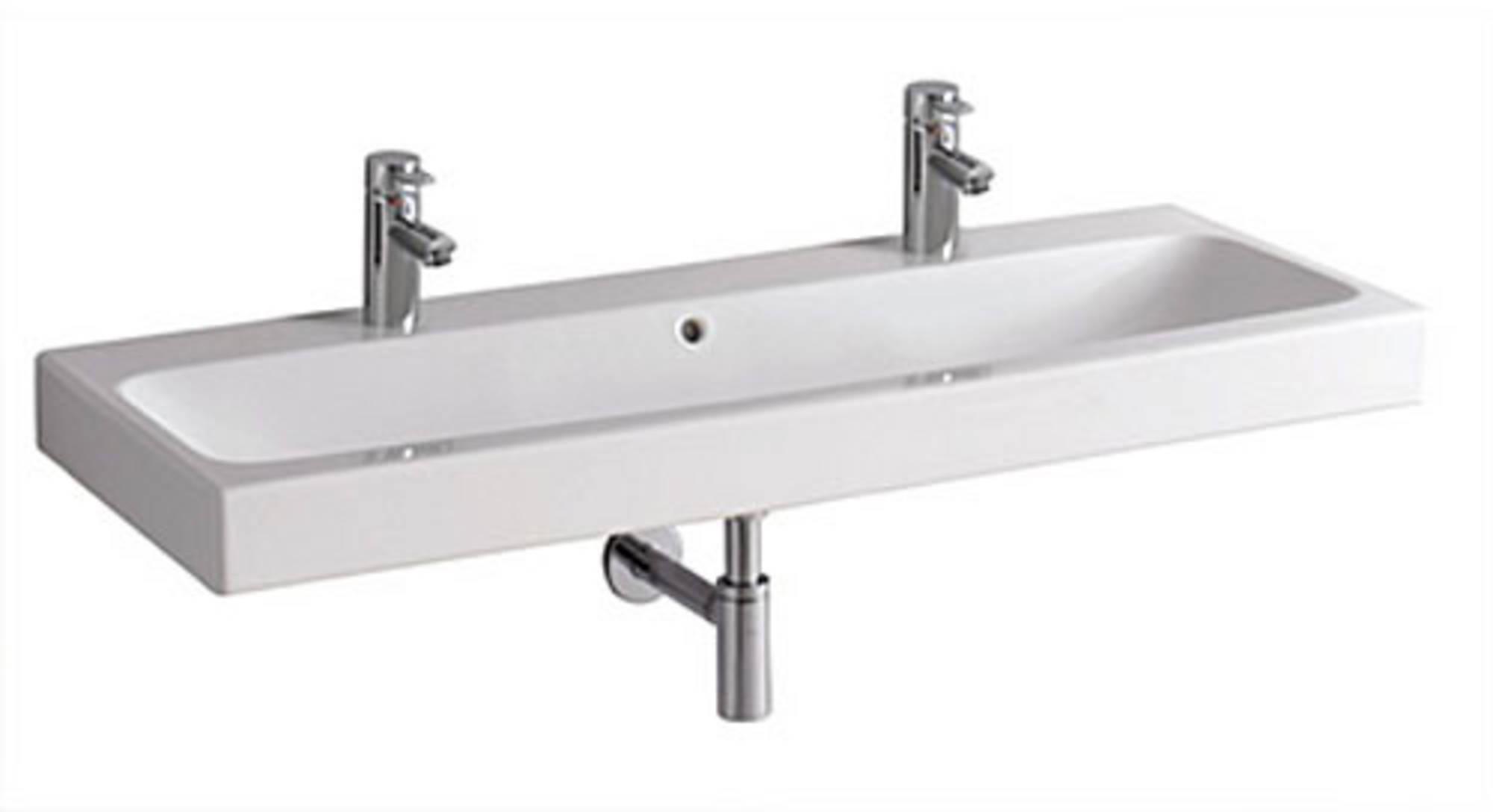 Sphinx Serie 345 wastafel 120x48,5cm,2x kraangat met overloop, wit