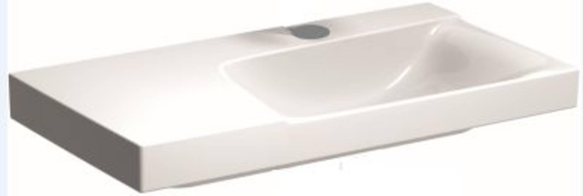 Sphinx Serie 420 new wastafel rechts 90x48 cm, afleg links 1x kraangat, wit