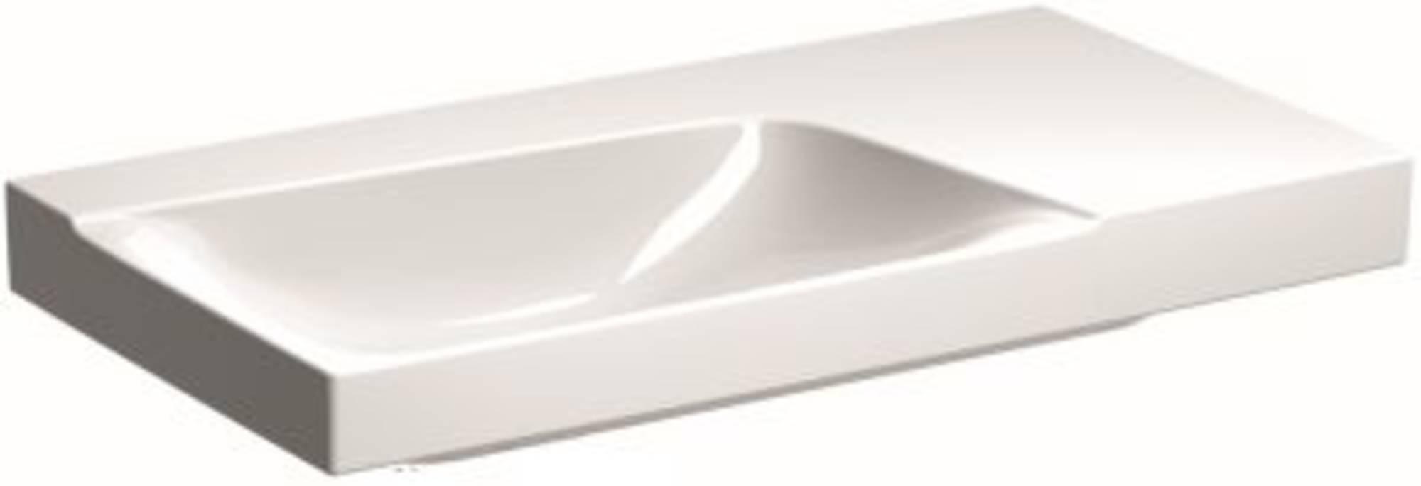 Sphinx Serie 420 new wastafel links 90x48 cm, afleg rechts zonder kraangat, wit