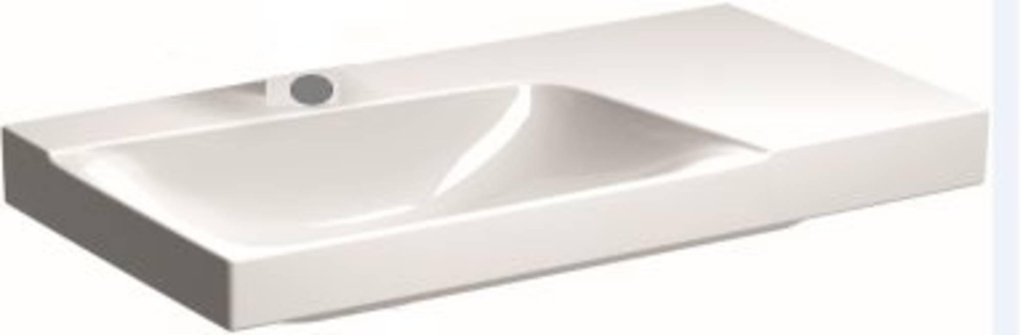 Sphinx Serie 420 new wastafel links 90x48 cm, afleg rechts 1x kraangat, wit