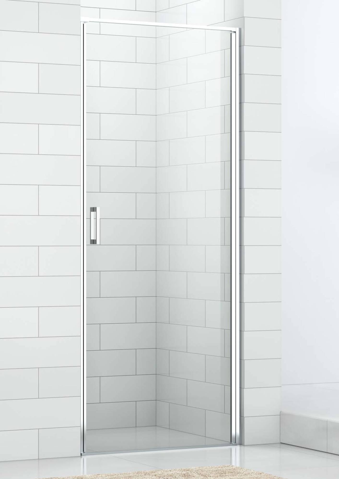 Saniselect Elina Nisdeur 100x210 cm rechts aluminium gepolijst - helder veiligheidsglas