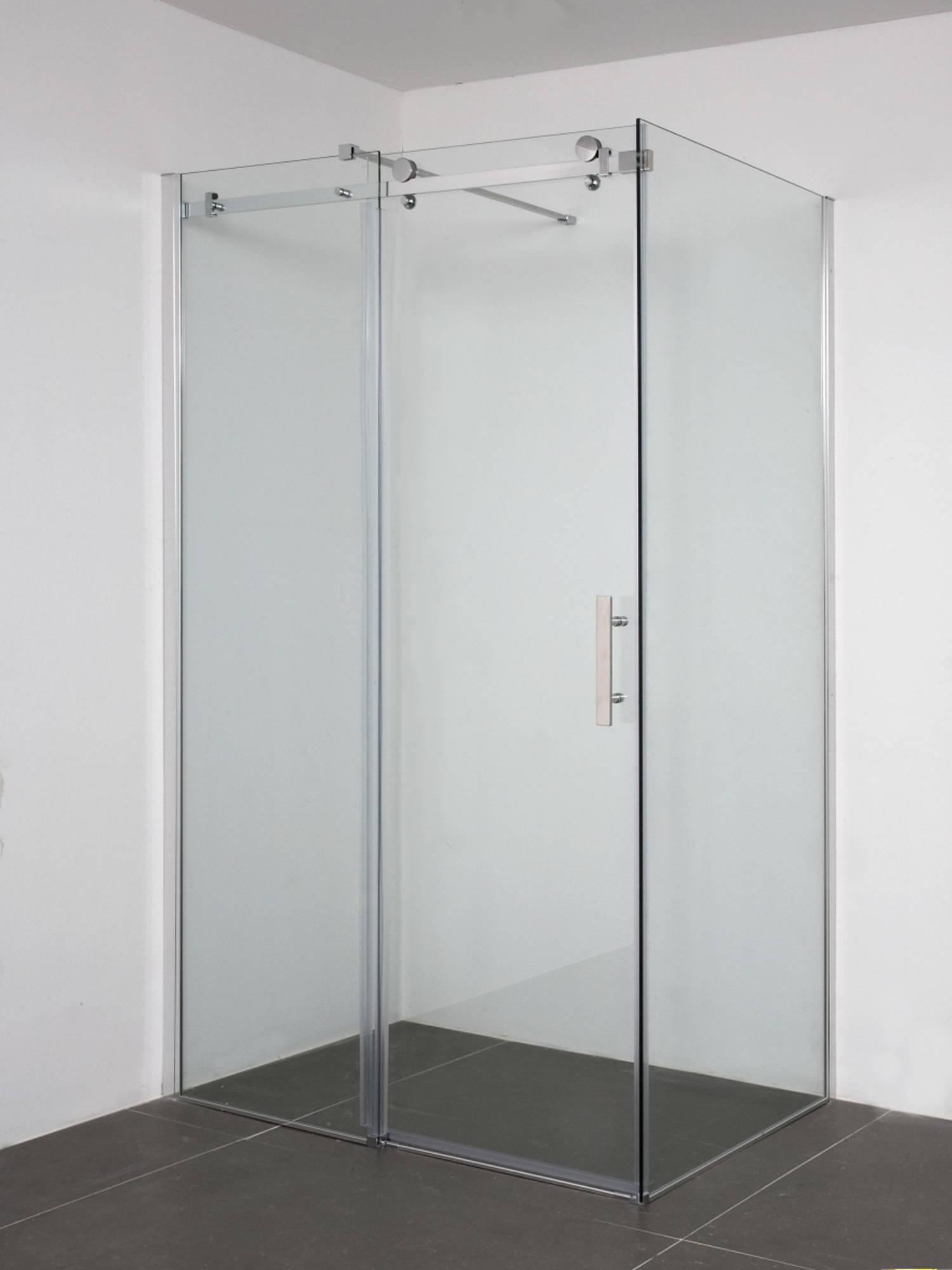 Saniselect Lomoni Zijwand voor schuifdeur 90x200cm Aluminium - Helder Glas