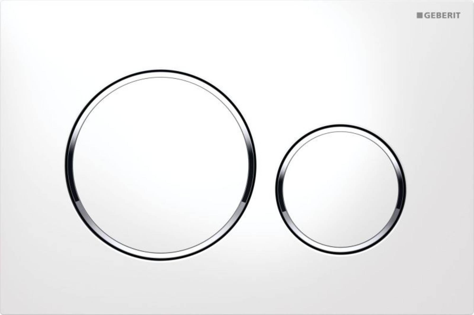 Geberit Sigma 20 bedieningsplaat kleuren:plaat-ring-knop Wit-Chroom-Wit