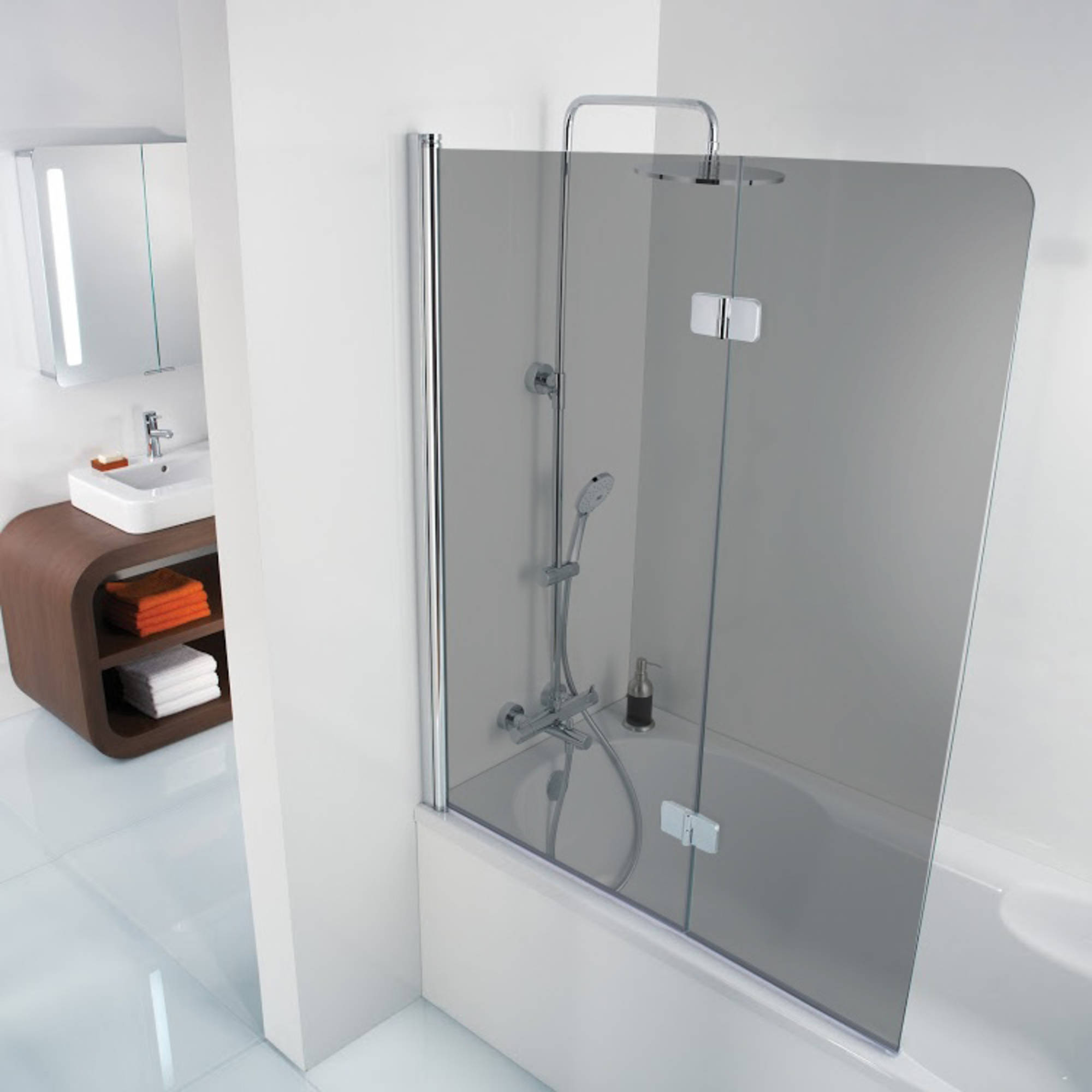 Ben Martino Soft 2-delige Badklapwand 114x140cm Chroom - Grijs Glas
