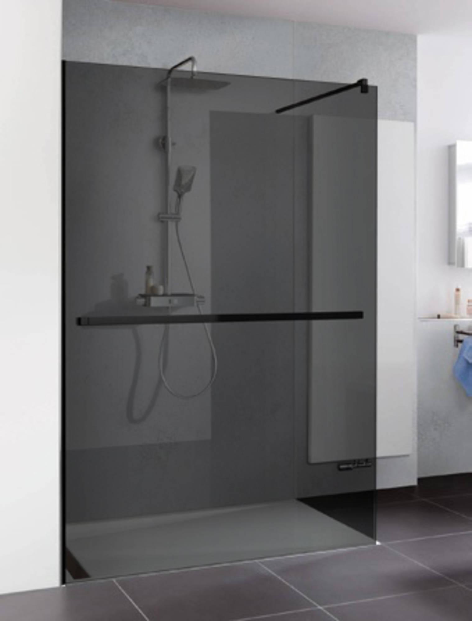 Duschprofi Walk In Pro inloopdouche met handdoekhouder 100x200 cm grijs glas Mat zwart
