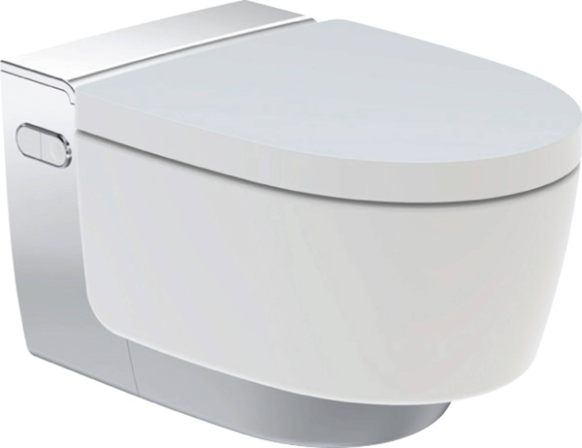 Productafbeelding van Douche WC Geberit AquaClean Mera Classic met Geurafzuiging Warme Luchtdroging en Ladydouche met Softclose en Deksel Glanschroom