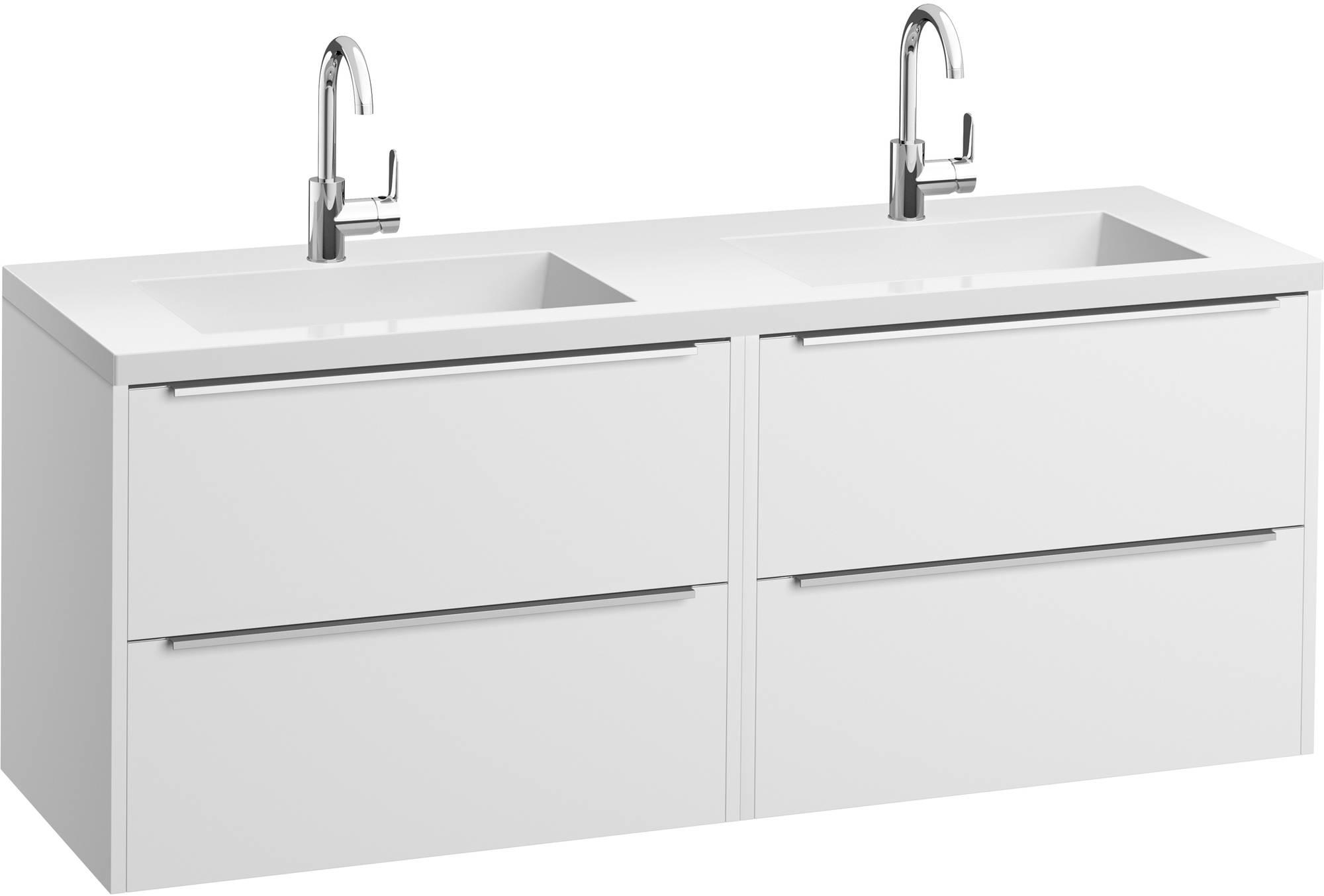 Saniselect Socan meubelset 4 lades met dubbele mineraalmarmere wastafel 160cm Mat Wit