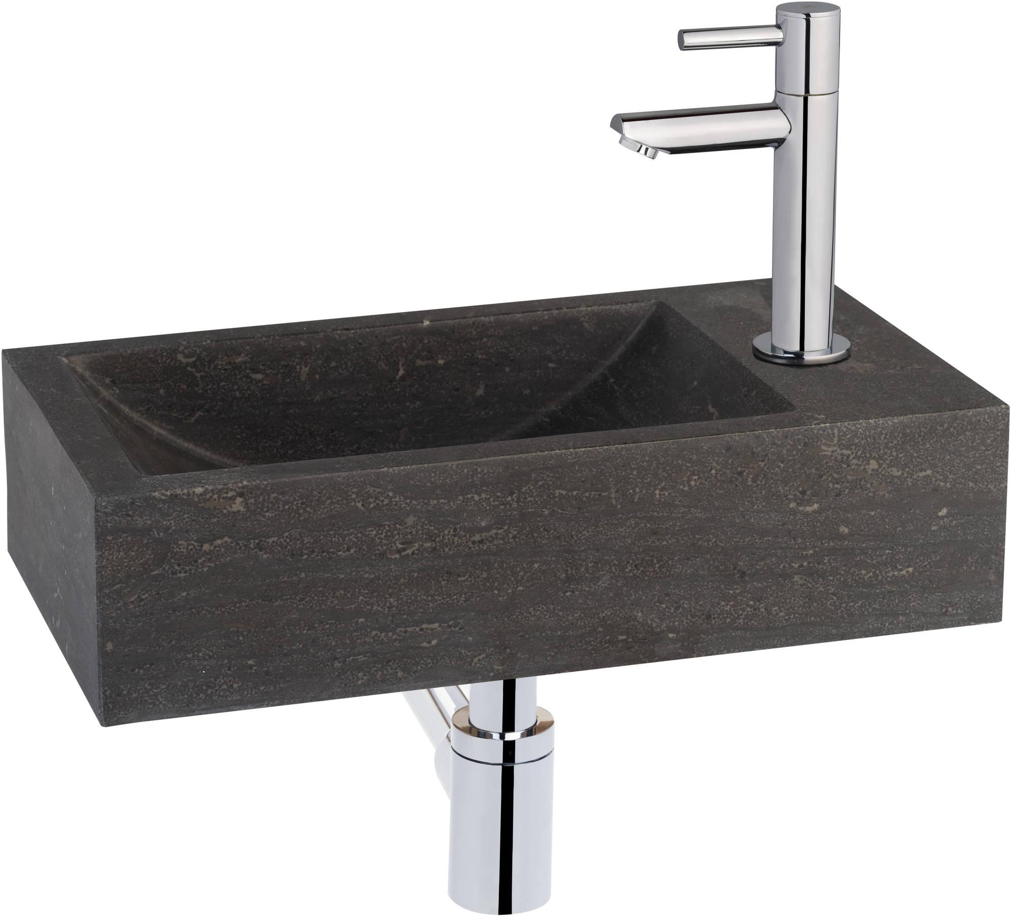 Productafbeelding van Saniselect fontein compleet rechts 40x22x10 cm Hardstenen
