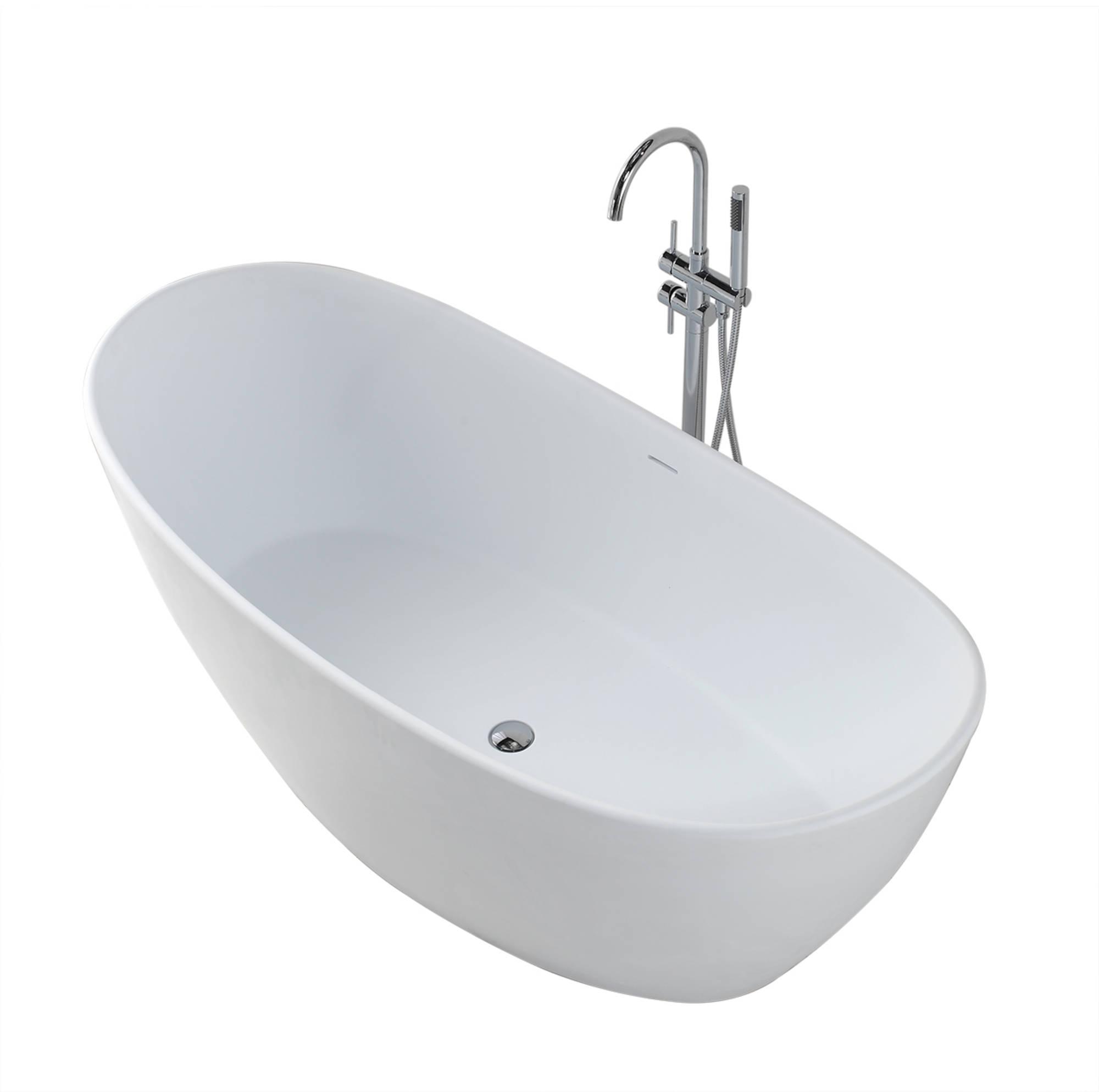 Saniselect bad vrijstaand 179,5x84,5x64 cm Solid Surface Mat-Wit