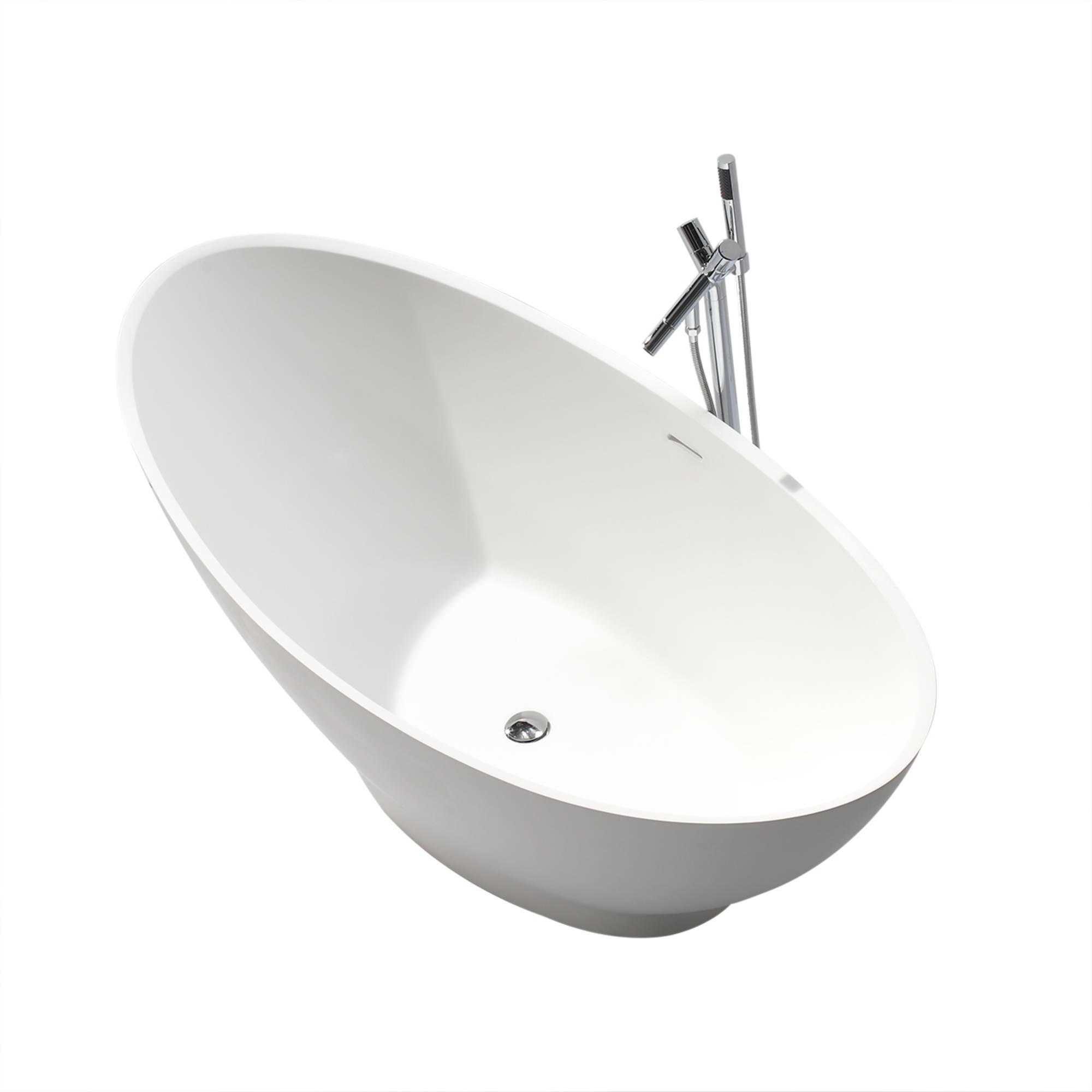 Saniselect bad vrijstaand 186x82x59 cm Solid Surface Mat-Wit