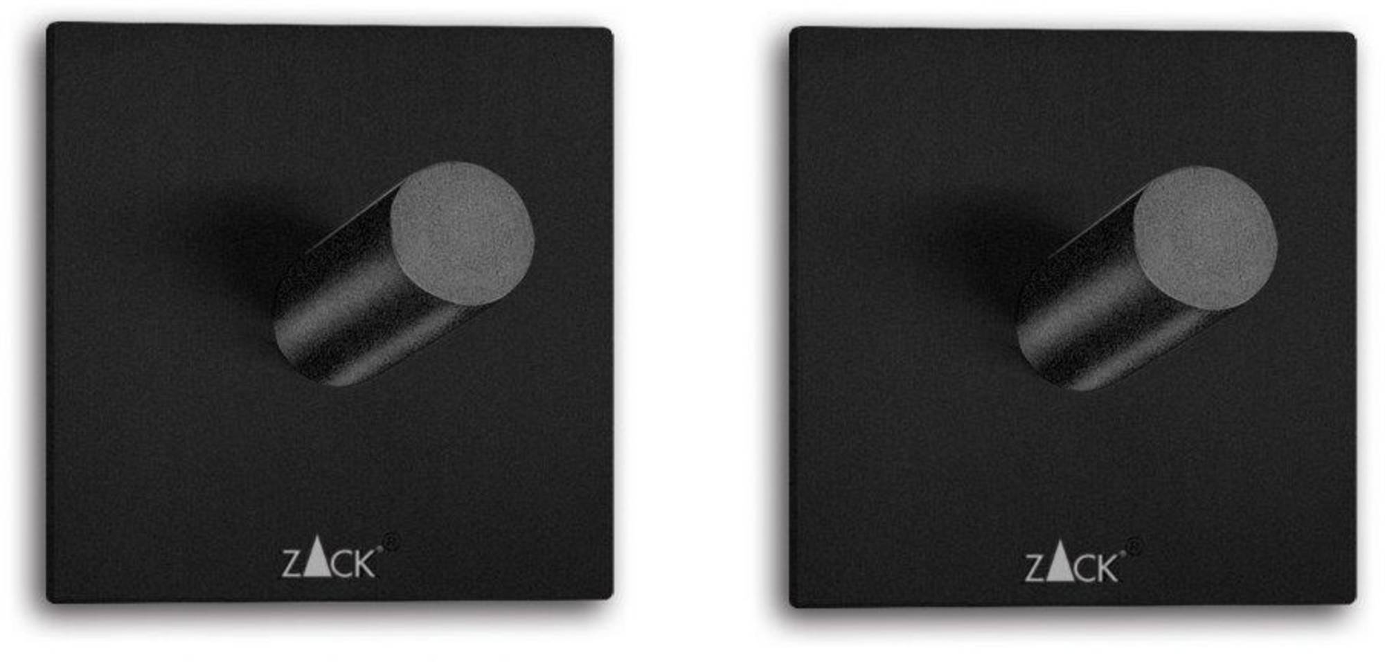ZACK Duplo Handdoekhaken Vierkant 4,2x4,2cm set van 2 stuks Zwart