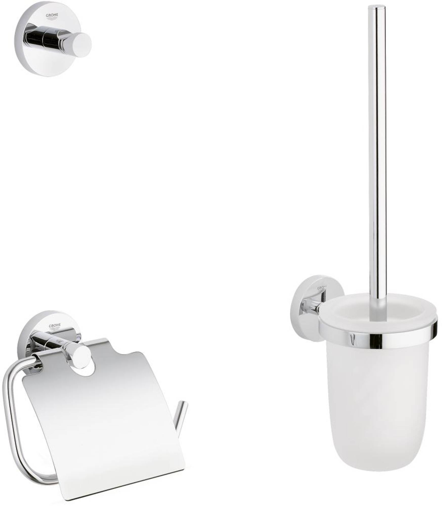 Grohe Essentials accessoireset 3-in-1 (haak-borstelhouder-closetrolhouder) Chroom