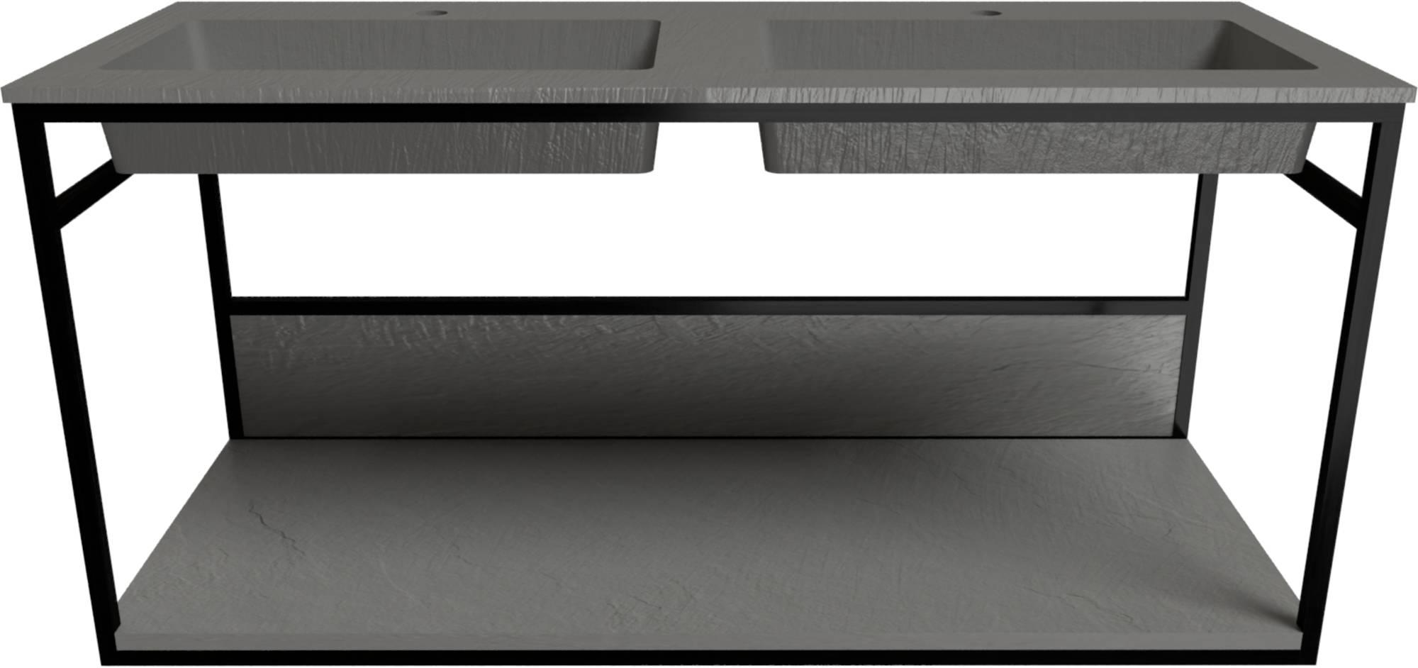 Ben Avira Set Muurframe met Wastafel 2 Krg. 120,3x46,5x52,3 cm Mat Zwart/Cement Grijs