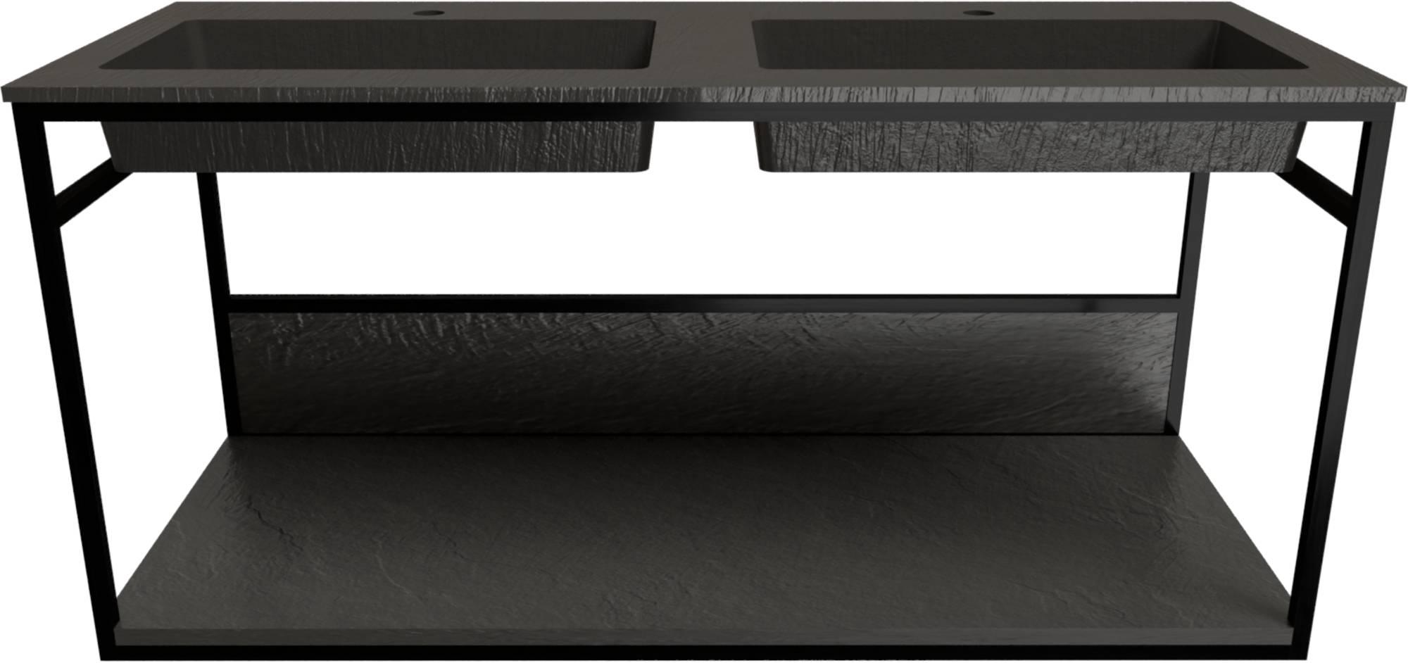 Ben Avira Set Muurframe met Wastafel 2 Krg. 120,3x46,5x52,3 cm Mat Zwart/Lava