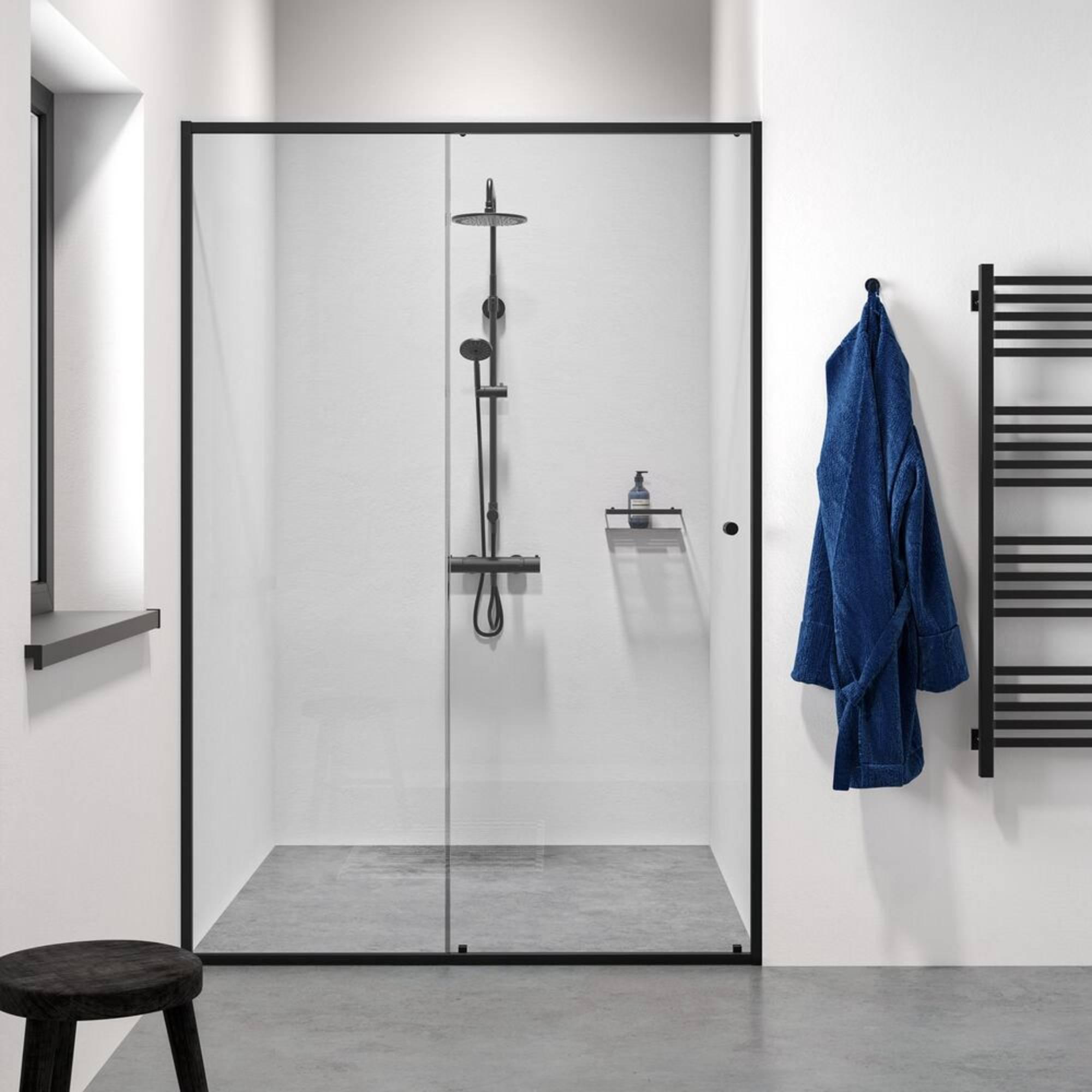 Sealskin Get Wet Contour Schuifdeur Nis 140x200 cm Mat Zwart