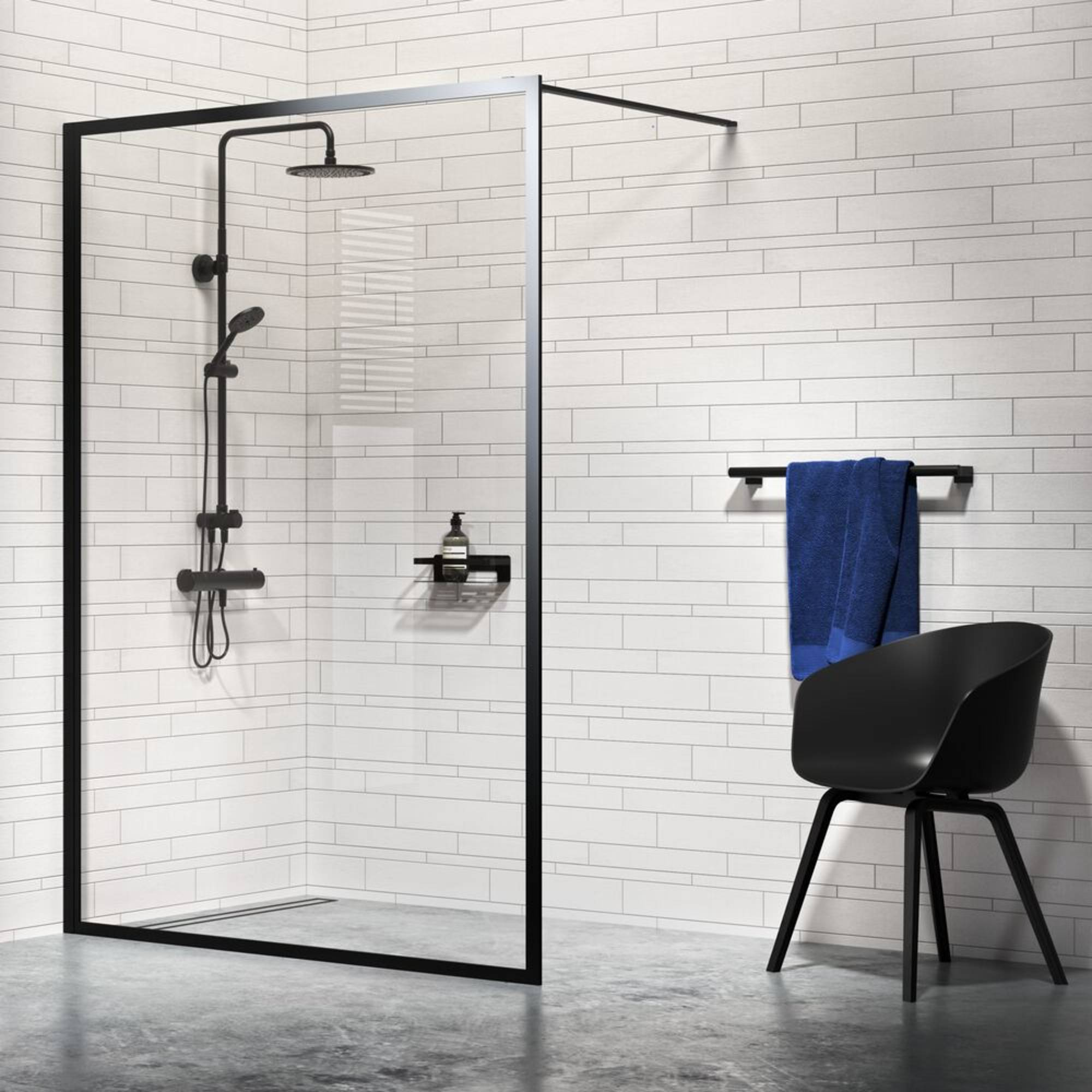 Sealskin Get Wet Contour Inloop Douche A3 100x200 cm Helder Glas/Mat Zwart
