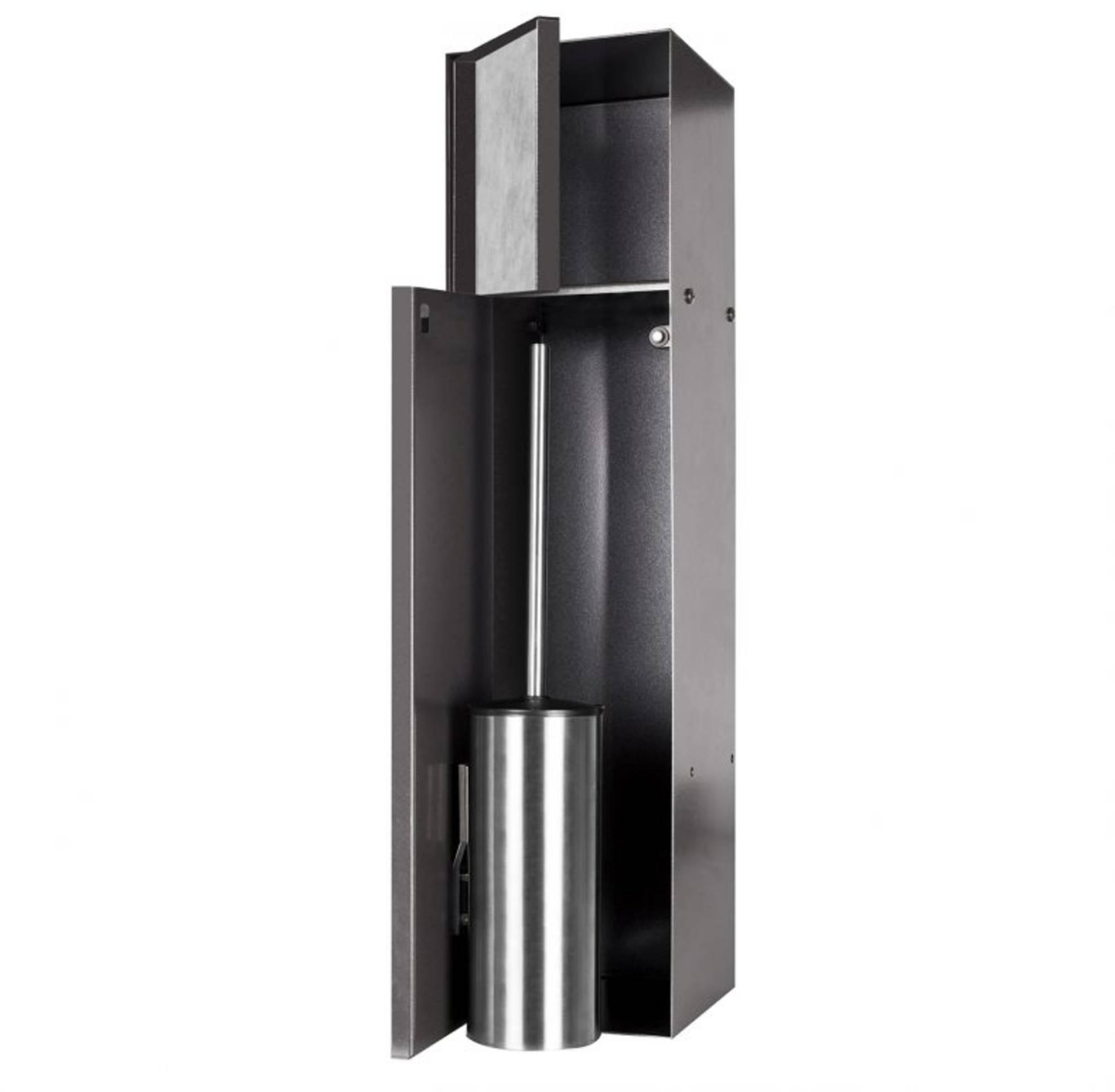 Looox CL10 Toiletborstelhouder inbouw betegelbaar inclusief opbergvak 2 deurs 14,5x14x61 cm Antracie