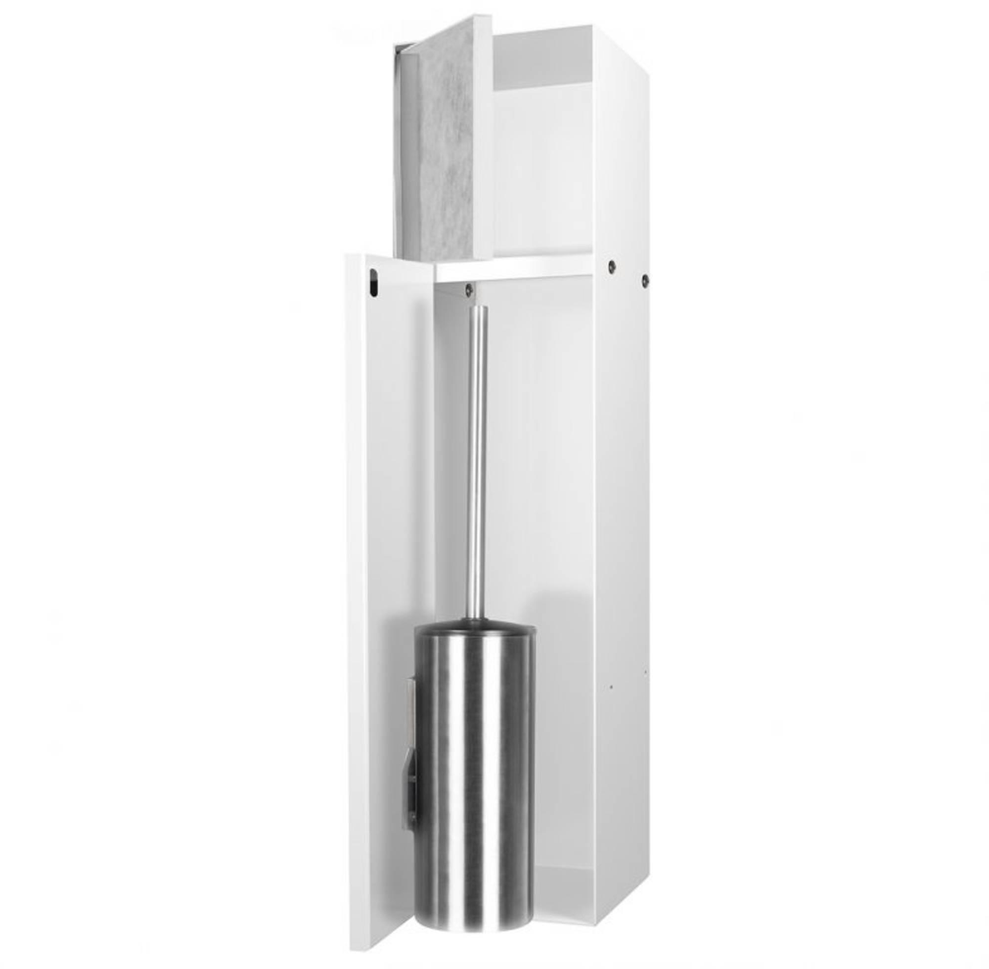Looox CL10 Toiletborstelhouder inbouw betegelbaar inclusief opbergvak 2 deurs 14,5x14x61 cm Wit