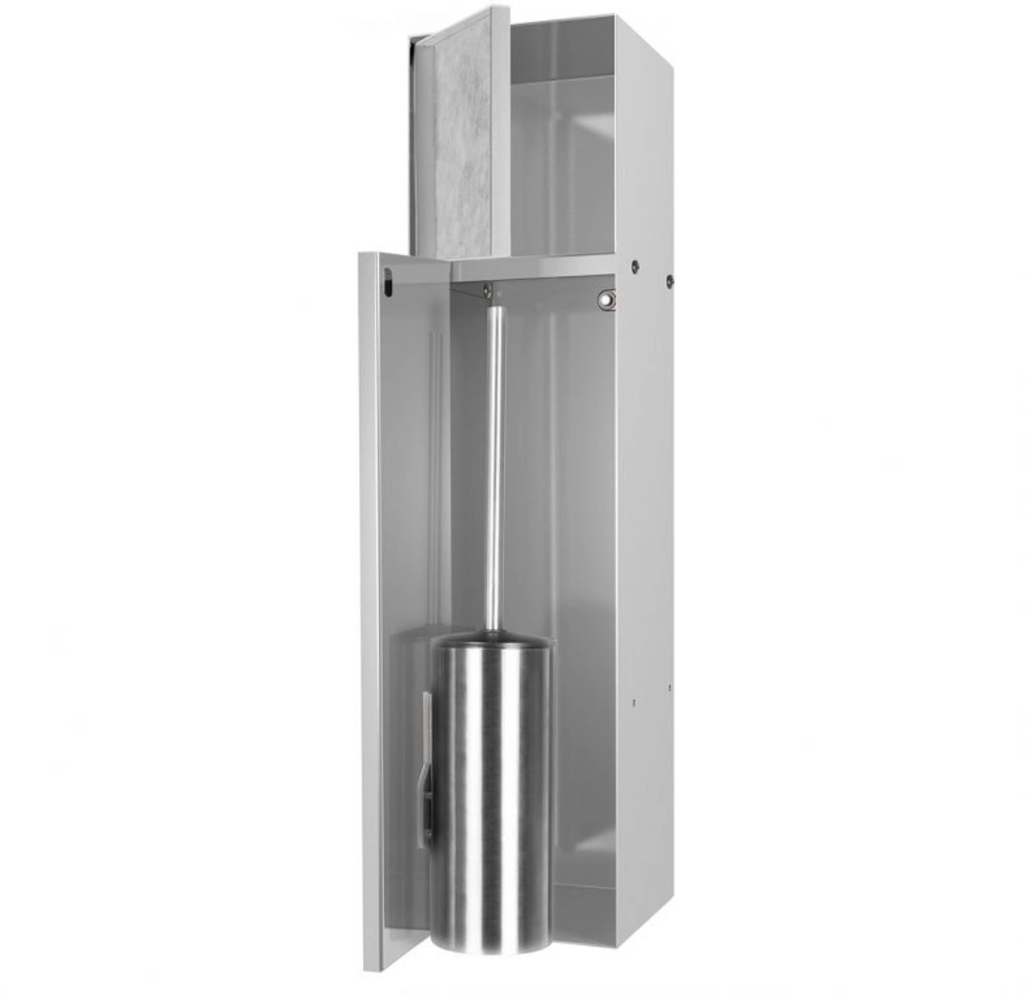Looox CL10 Toiletborstelhouder inbouw betegelbaar inclusief opbergvak 2 deurs 14,5x14x61 cm RVS