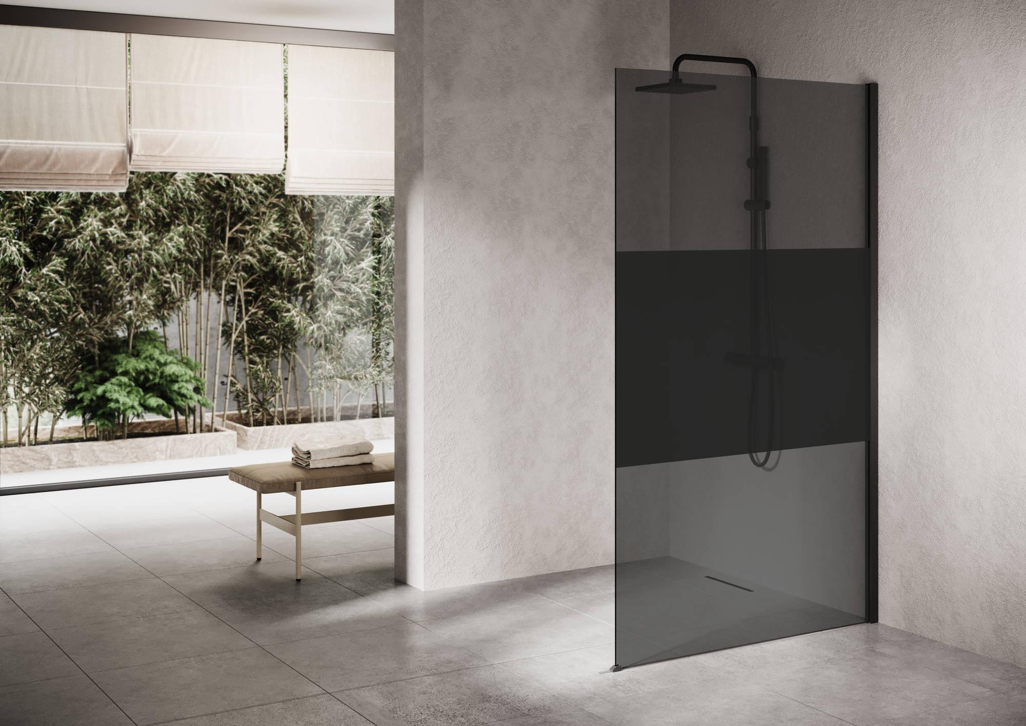 Ben Delphi Inloopdouche met Dark Satin Glas 100x200 cm Mat Zwart
