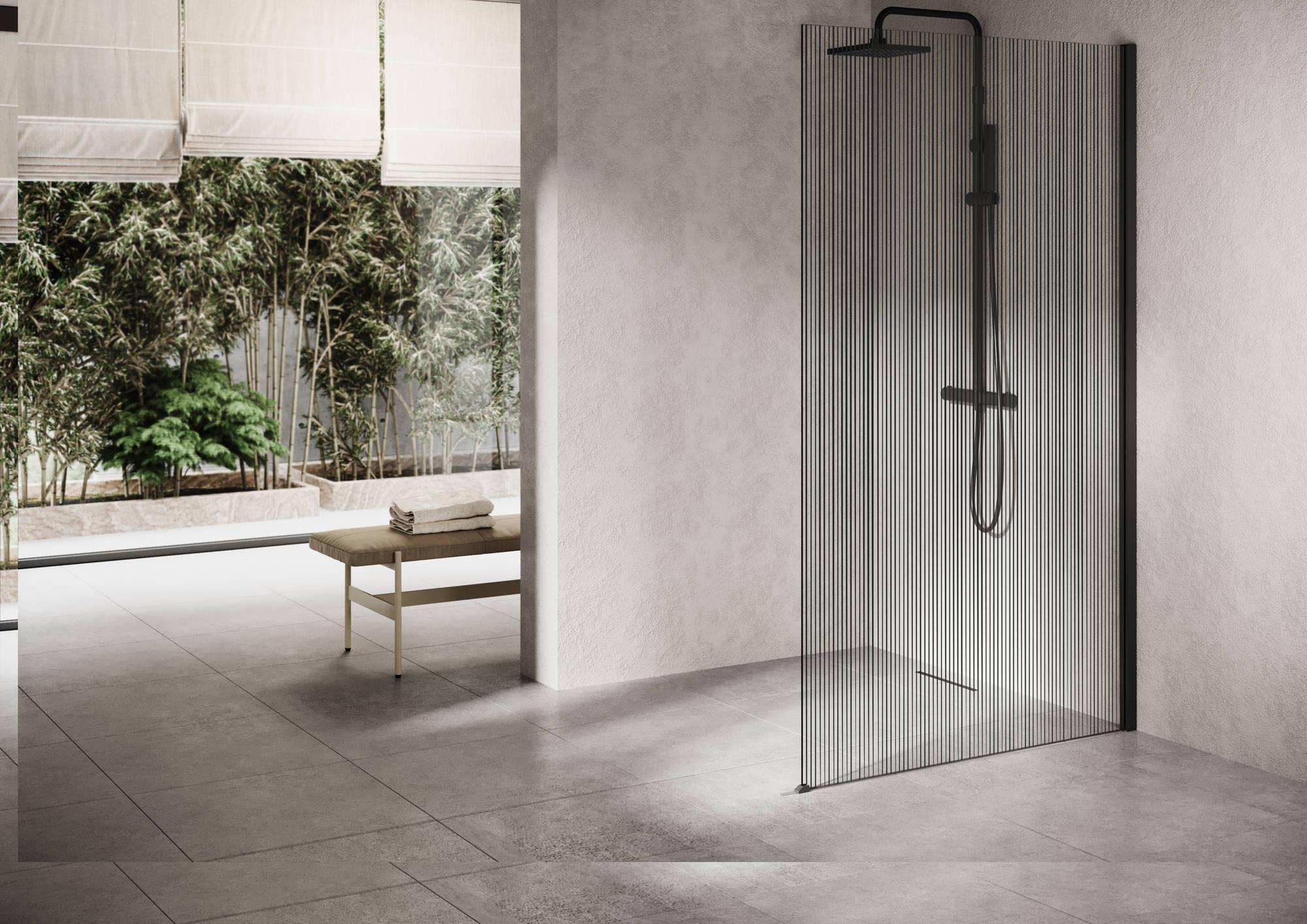 Ben Delphi Inloopdouche met Line Glas 120x200 cm Mat Zwart