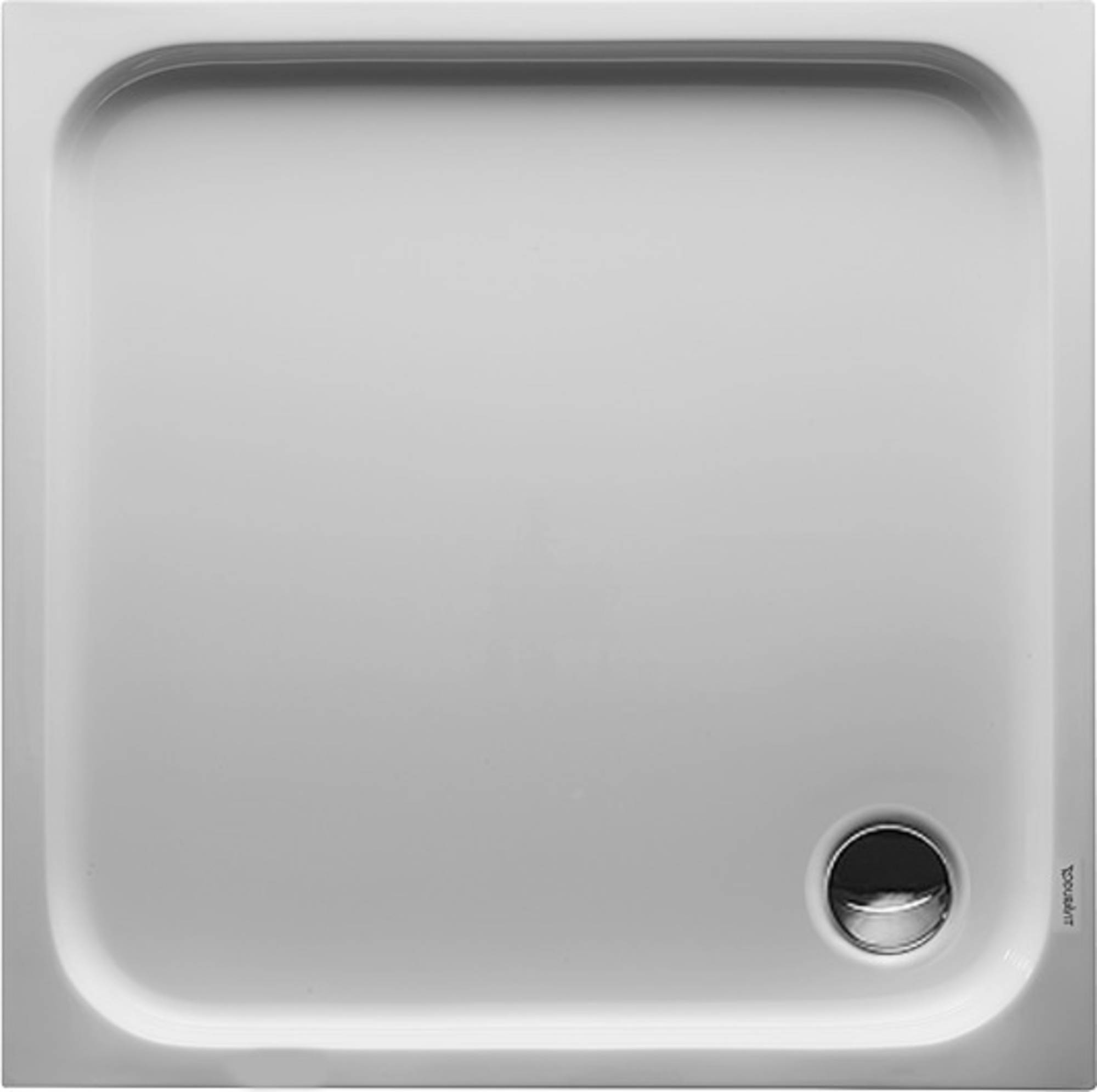 Duravit D-Code kunststof douchebak acryl vierkant z. paneel 90x90cm m. afvoergat Ø90mm wit