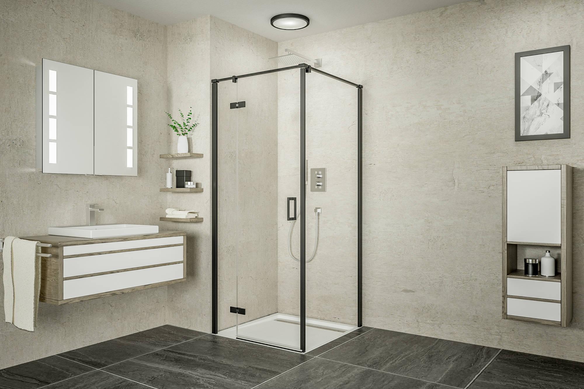 Ben Meteora Zijwand voor douchedeur 100x200 cm Mat Zwart