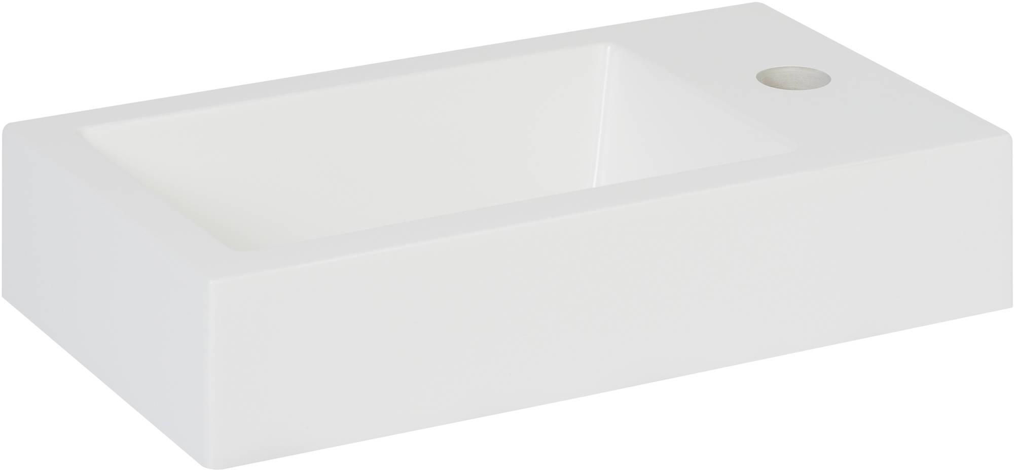 Saniselect Square Fontein 40,5x22x9 cm 1Kgr. Rechts Wit