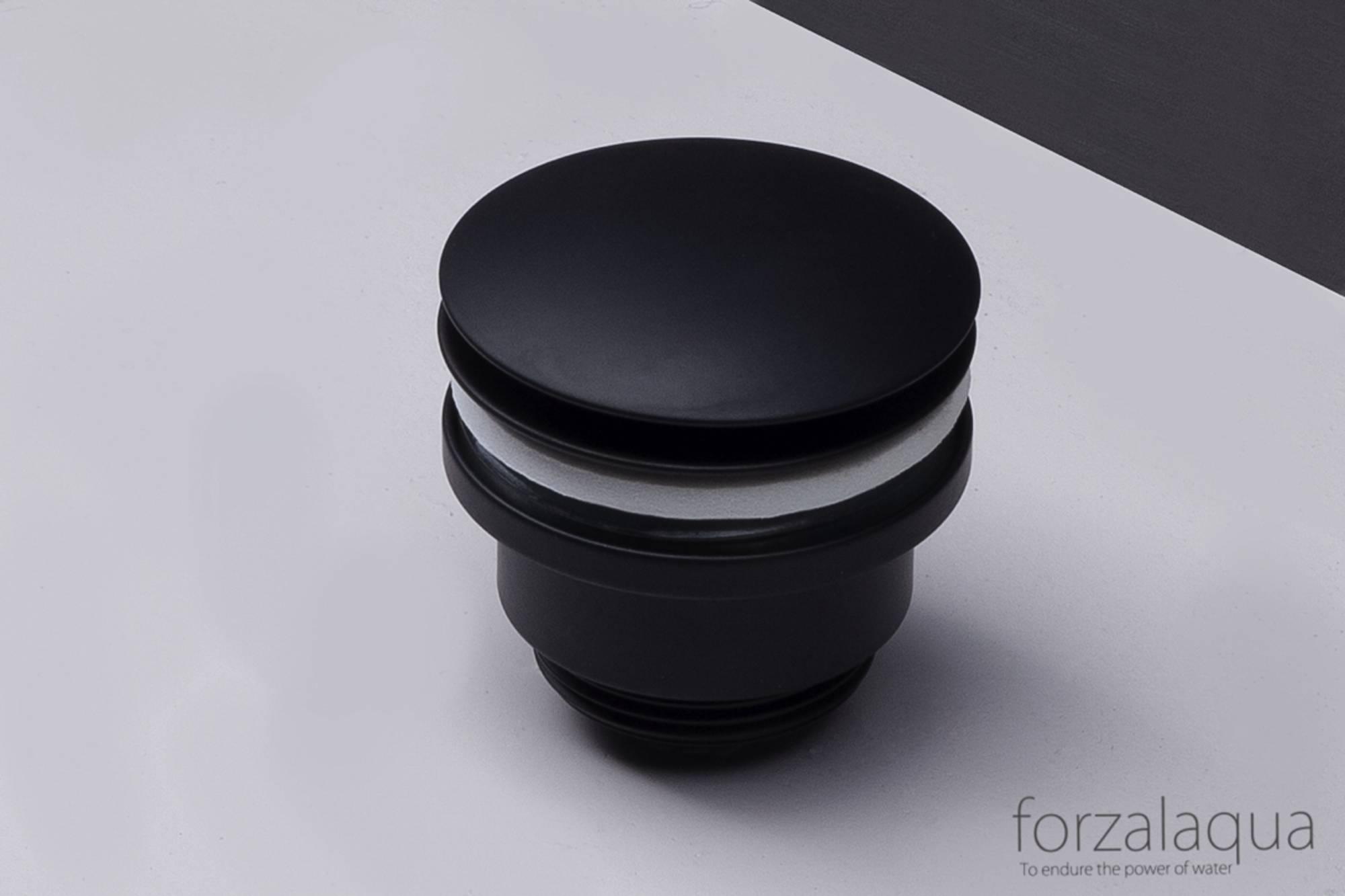 Forzalaqua Afvoerplug Chroom 5/4inch Push Open Zwart