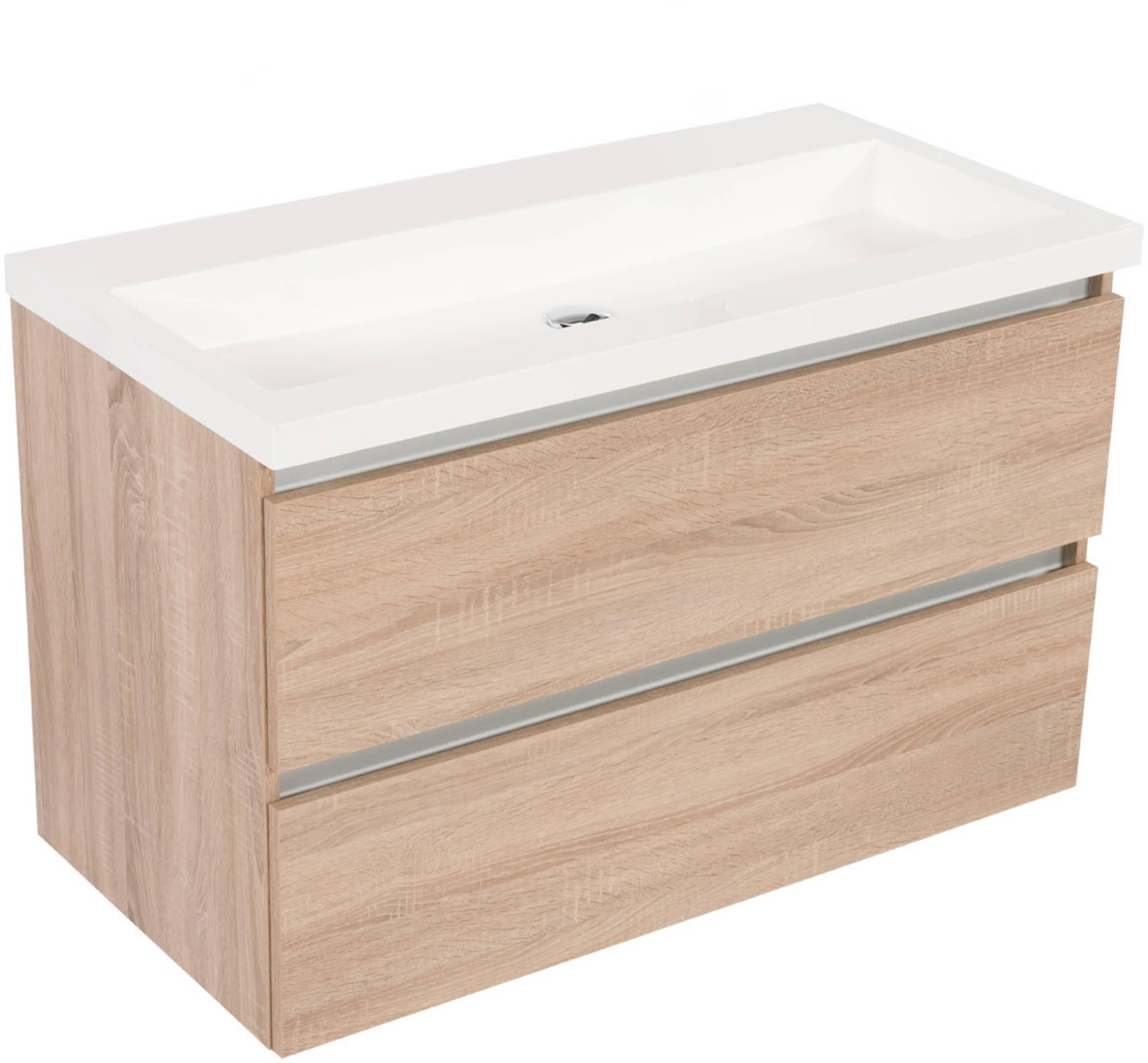 Saniselect Guarda meubelset 2 lades met mineraalmarmere wastafel greeploos 100cm Bardolino Eiken Zon