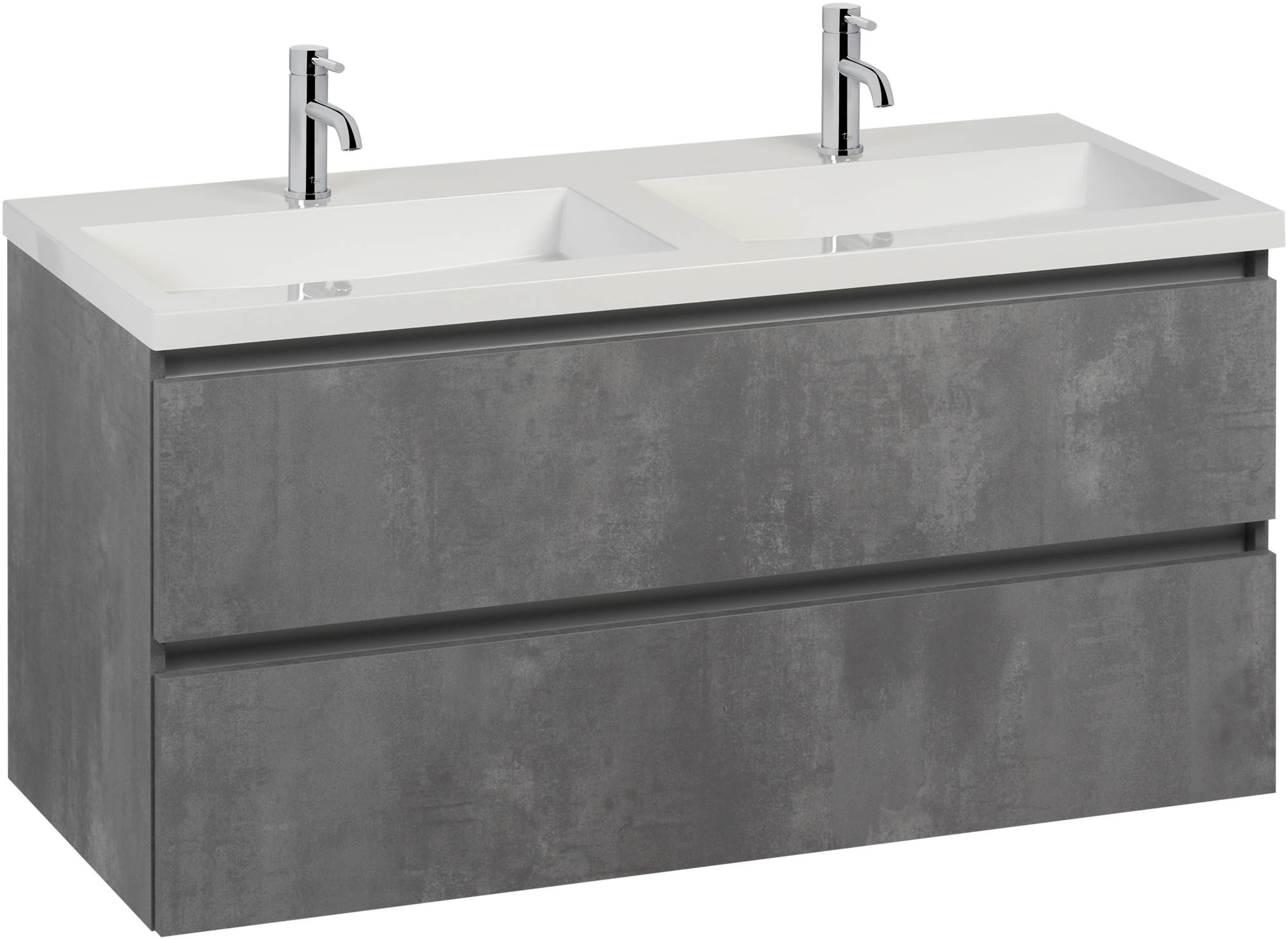 Saniselect Guarda badmeubelset dubbele wastafel 120x50,5x60 cm beton grijs