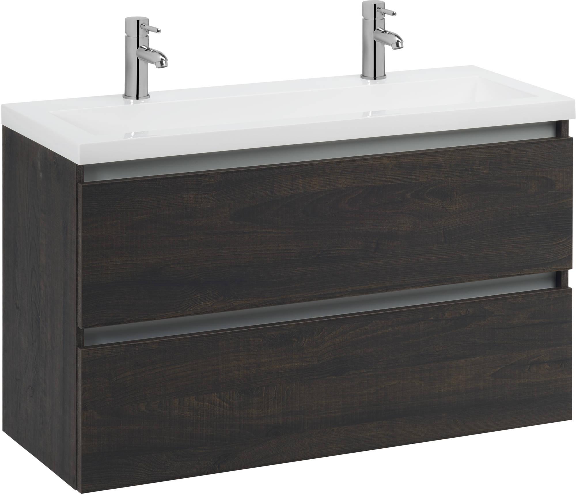 Saniselect Guarda meubelset 2 lades met mineraalmarmere wastafel greeploos 120cm Kasteel Bruin