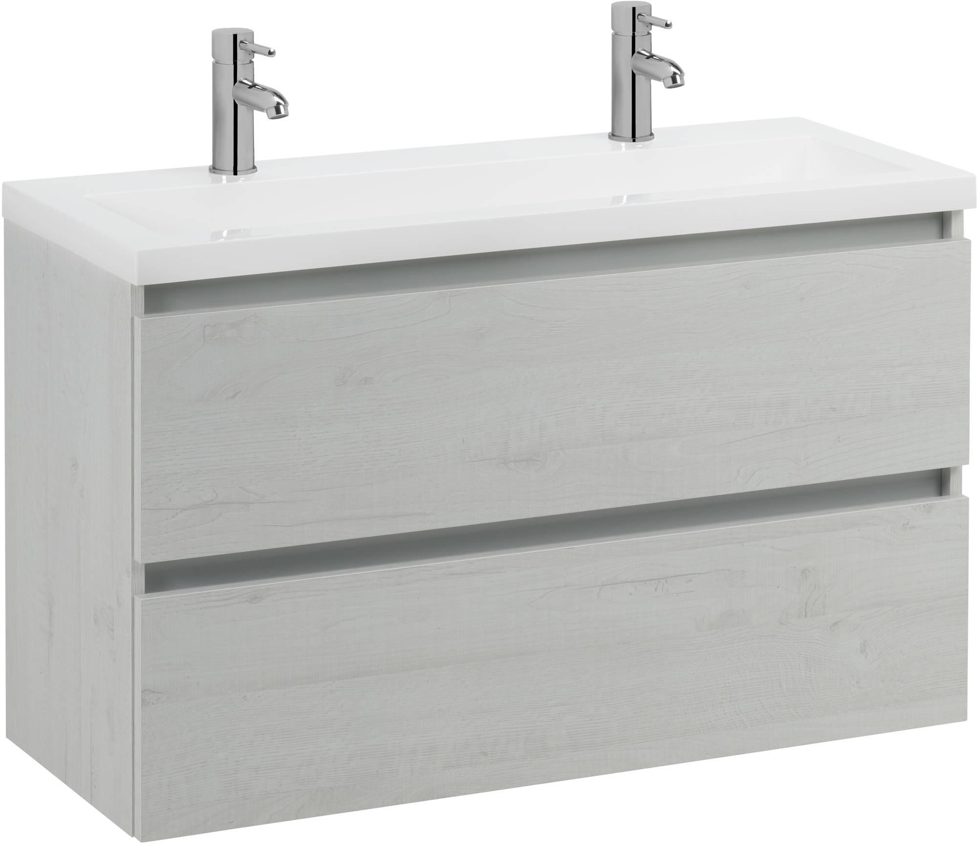 Saniselect Guarda meubelset 2 lades met mineraalmarmere wastafel greeploos 120cm Pool Wit