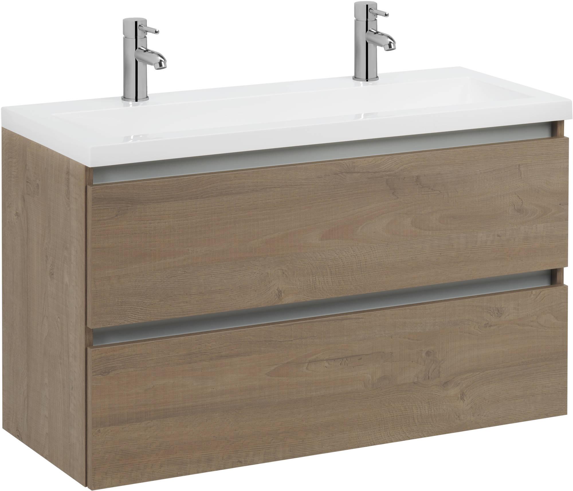 Saniselect Guarda meubelset 2 lades met mineraalmarmere wastafel greeploos 120cm Toffee