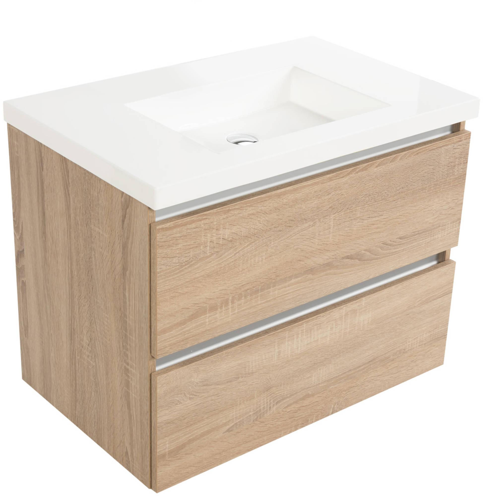 Saniselect Guarda meubelset 2 lades met mineraalmarmere wastafel greeploos 80cm Bardolino Eiken Zond