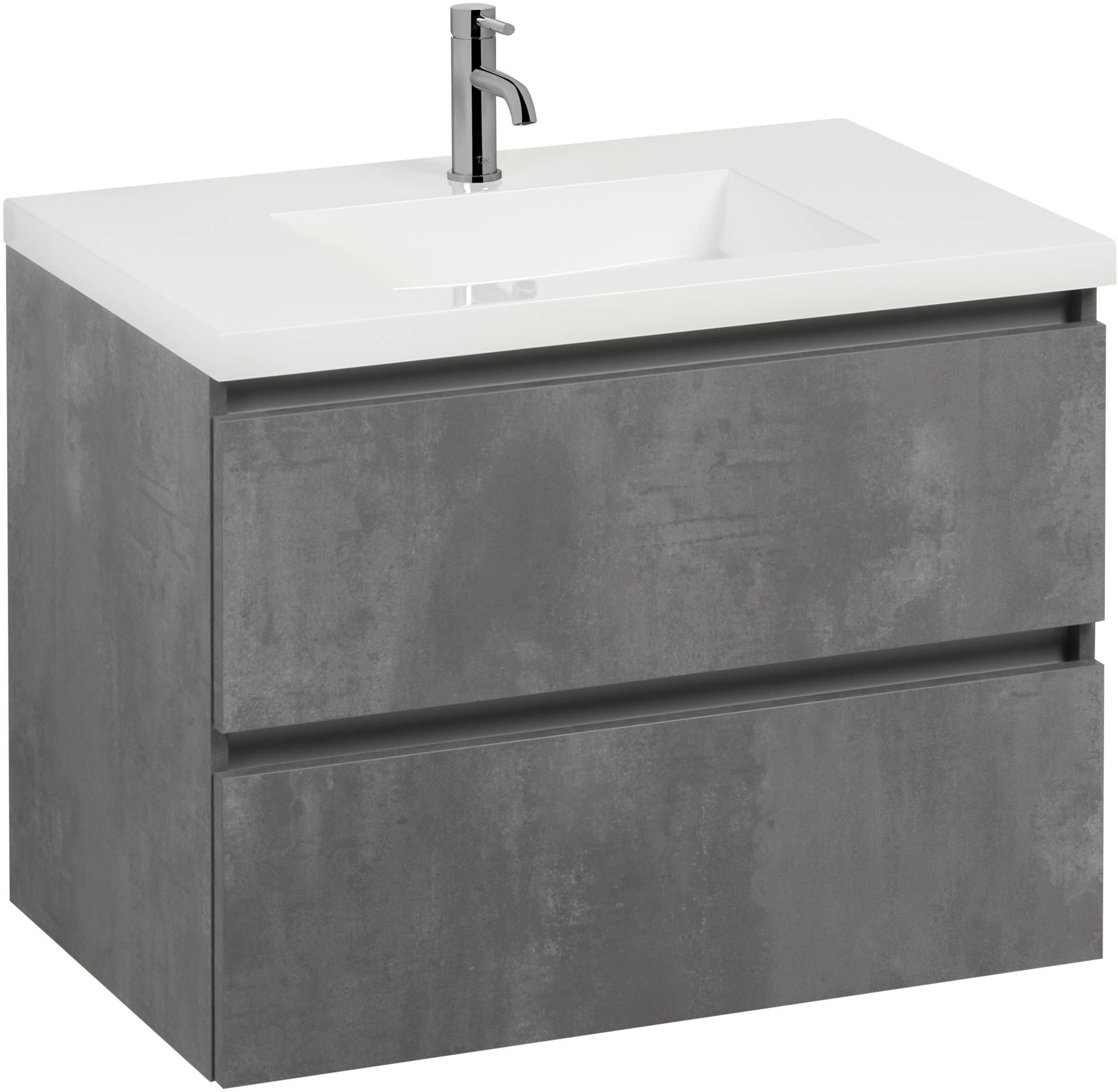 Saniselect Guarda meubelset 2 lades met mineraalmarmere wastafel greeploos 80cm Beton Grijs