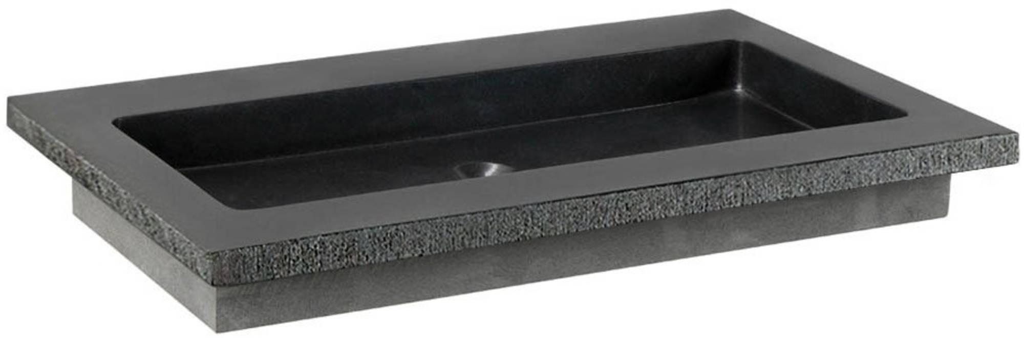 Ben Naturno Wastafel Graniet Gezoet Gefrijnd 60,5x51,5x3 cm zonder Krg. Zwart