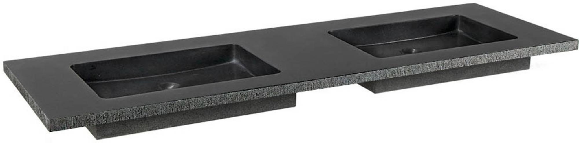 Ben Naturno Wastafel Graniet Gezoet Gefrijnd 160,5x51,5x3 cm zonder Krg. Zwart