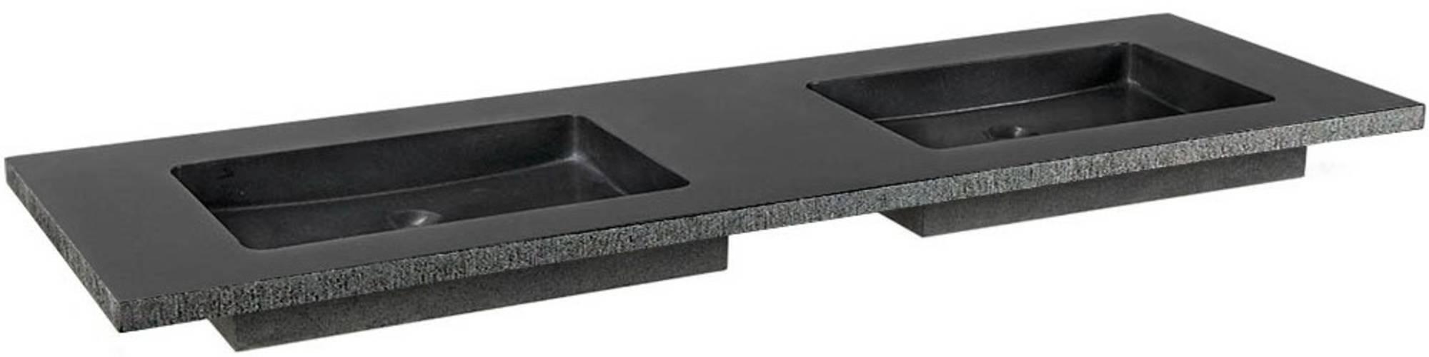 Ben Naturno Wastafel Graniet Gezoet Gefrijnd 160,5x51,5x3 cm 2 Krg. Zwart