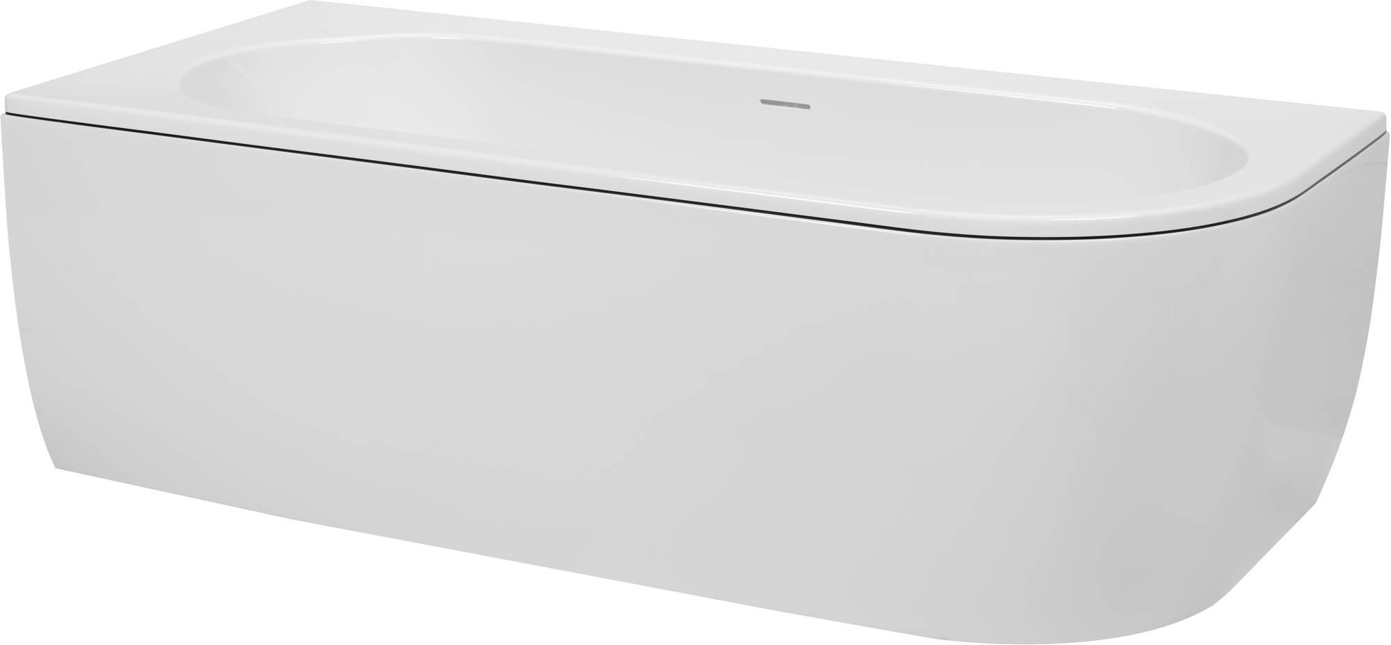 Saniselect Hilla Bad Back-to-Wall L met zwarte rand en witte waste cover 180x80x60 cm Wit