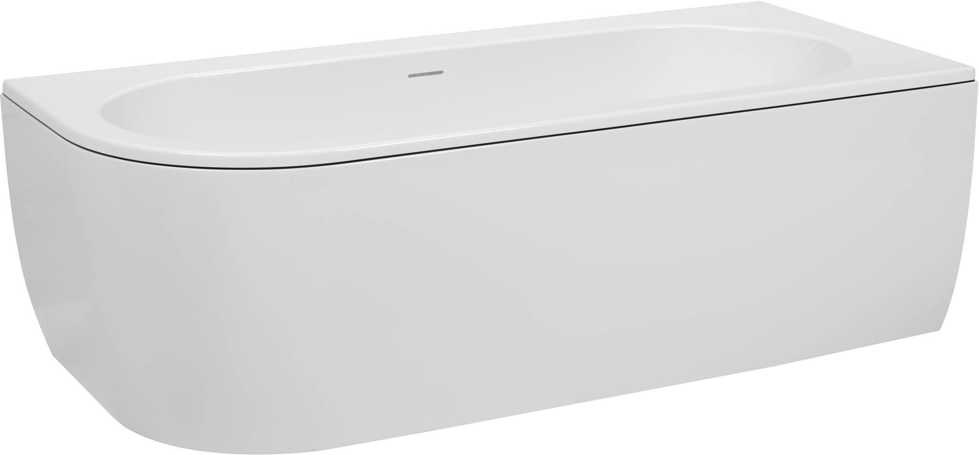 Saniselect Hilla Bad Back-to-Wall R met zwarte rand en witte waste cover 180x80x60 cm Wit